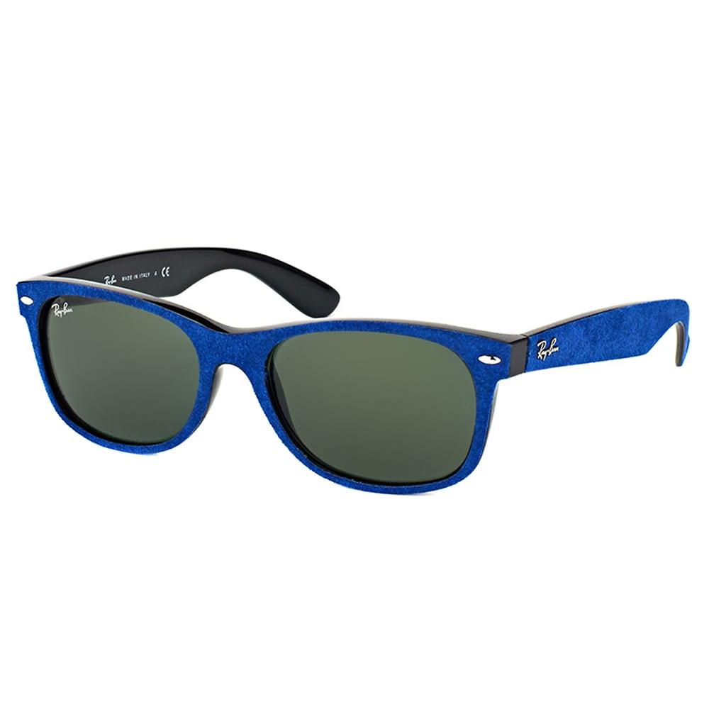 01490c2ba3 Ray-Ban RB 2132 6239 New Wayfarer Alcantara Blue Plastic Wayfarer Green  Lens 52mm Sunglasses