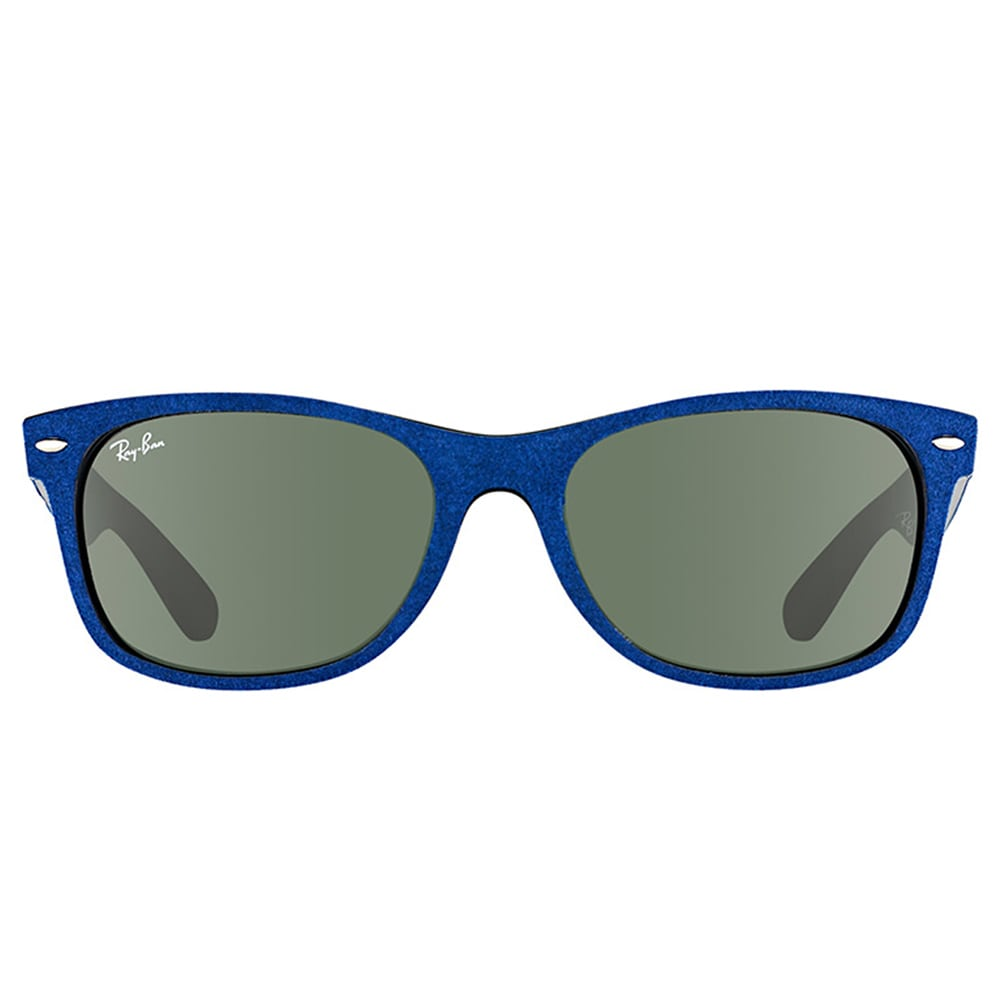 5e8946443 Shop Ray-Ban RB 2132 6239 New Wayfarer Alcantara Blue Plastic Wayfarer Green  Lens 52mm Sunglasses - Free Shipping Today - Overstock - 12177365