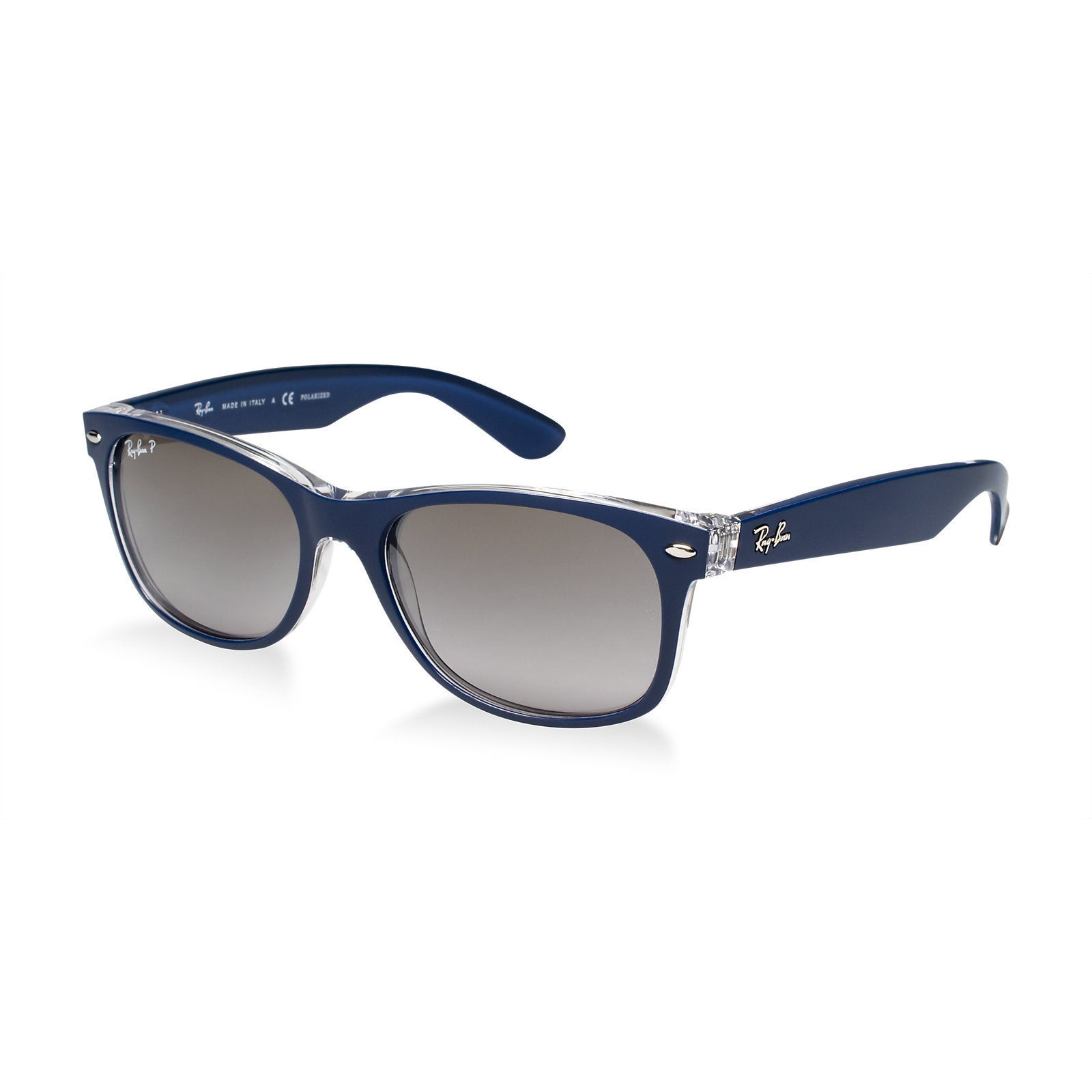 716c8383df4 Ray-Ban RB2132 6053M3 New Wayfarer Blue Clear Frame Polarized Grey Gradient  55mm Lens Sunglasses