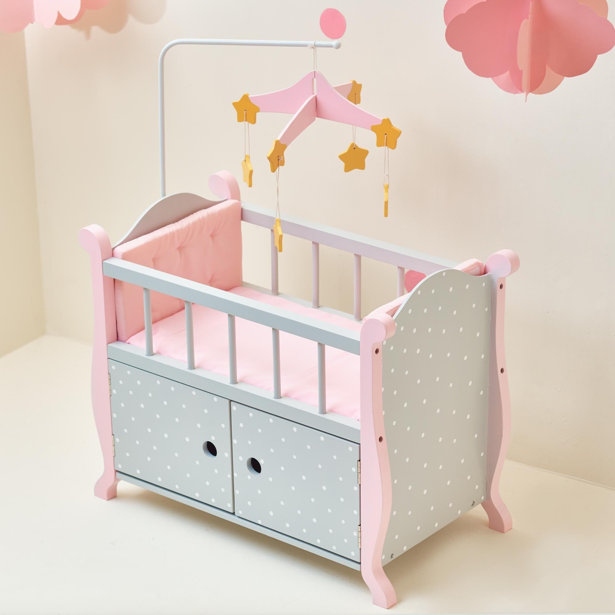 Superieur Shop Oliviau0027s Little World Baby Doll Furniture Nursery Crib Bed With  Storage In Grey Polka Dots   On Sale   Free Shipping Today   Overstock.com    12178828