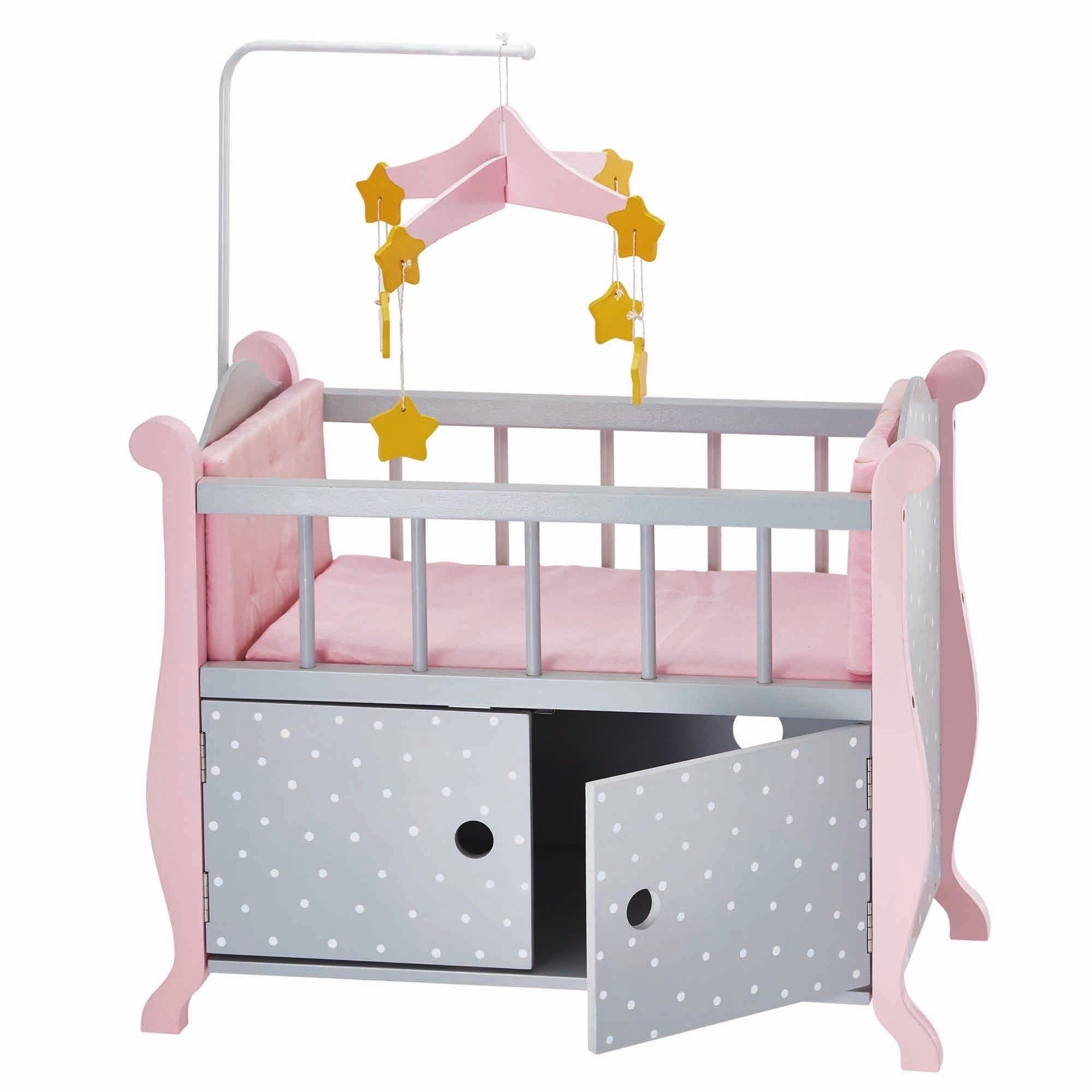 Shop Oliviau0027s Little World Baby Doll Furniture Nursery Crib Bed With  Storage In Grey Polka Dots   On Sale   Free Shipping Today   Overstock.com    12178828