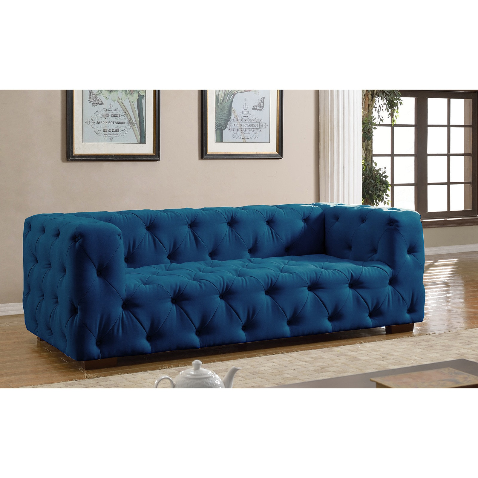 Luxurious Modern Large Tufted Linen Fabric Sofa Free Shipping Today 12179210