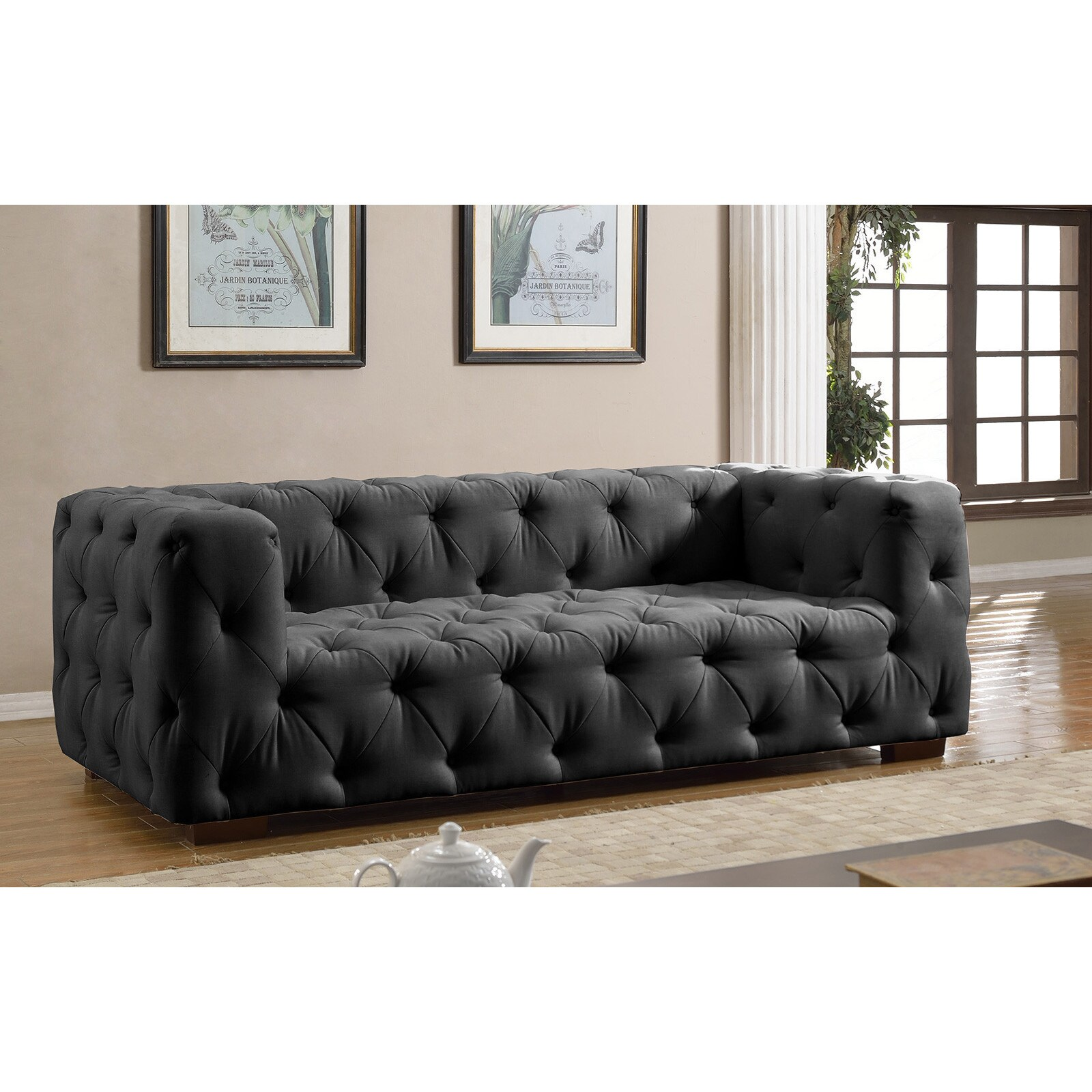 Luxurious Modern Large Tufted Linen Fabric Sofa Free Shipping  ~ Oversized Chesterfield Sofa