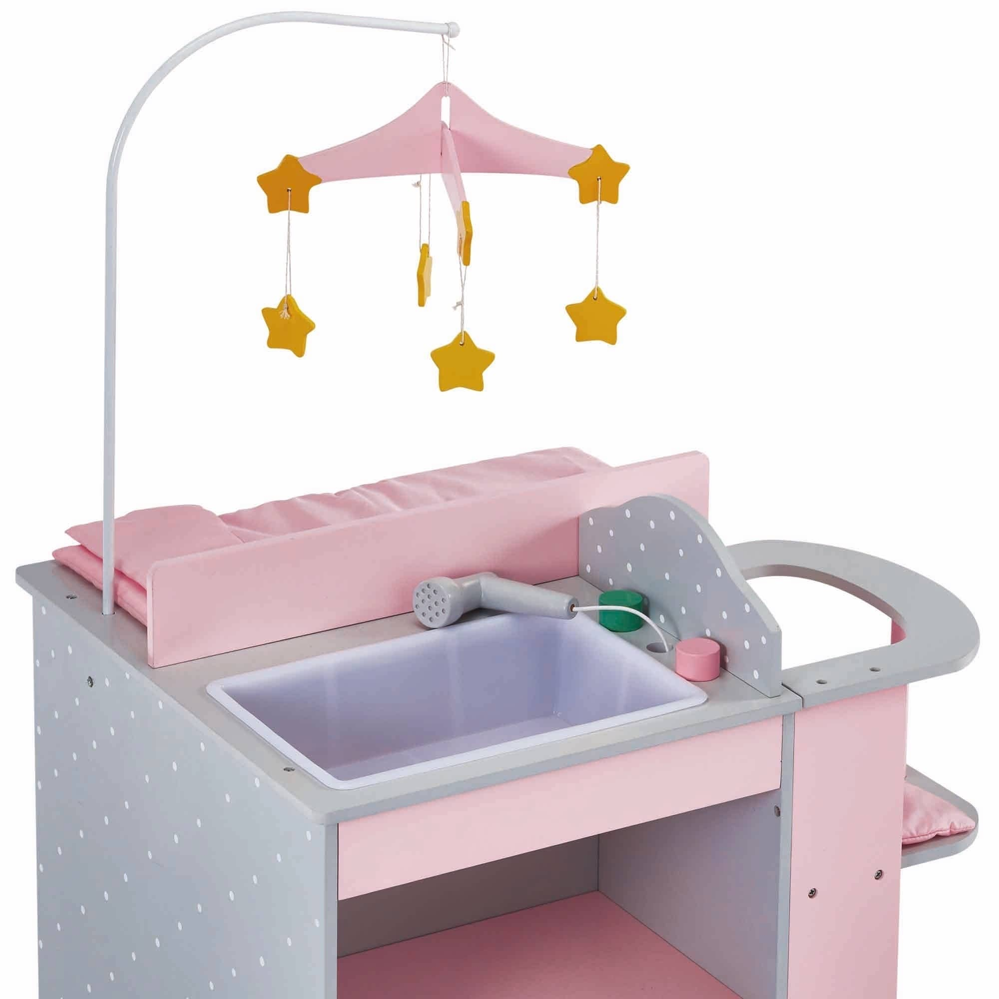 Olivia S Little World Baby Doll Furniture Baby Changing Station With Storage In Grey Polka Dots