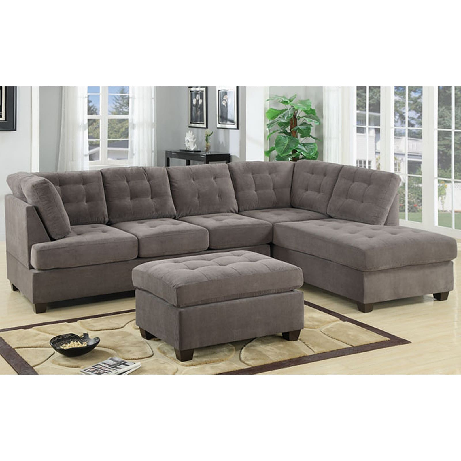 3 Piece Modern Large Tufted Grey Microfiber Sectional Sofa With  ~ Grey Suede Sectional Sofa