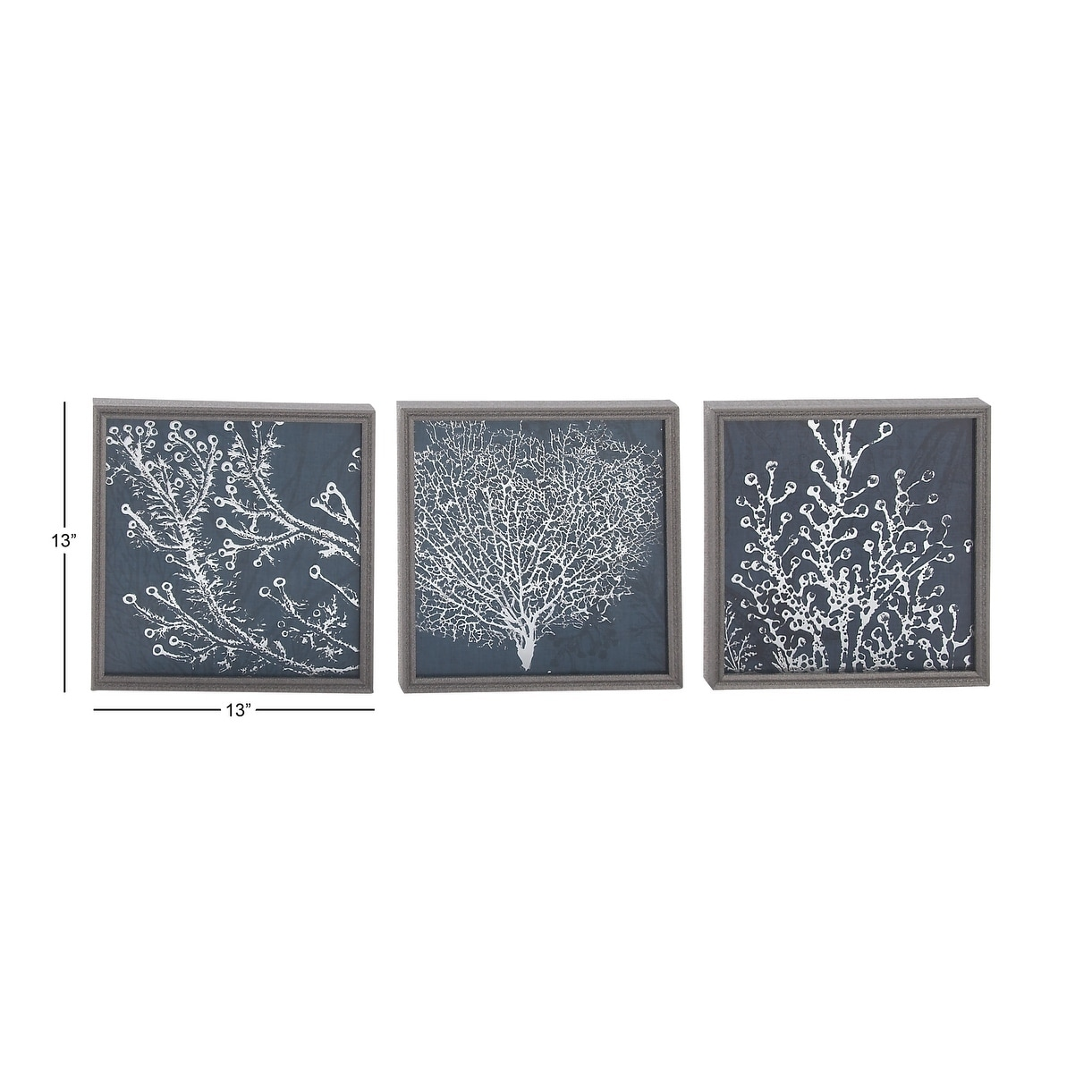 Modern 13 inch wooden framed coral wall decor set of 3 by studio 350 blue