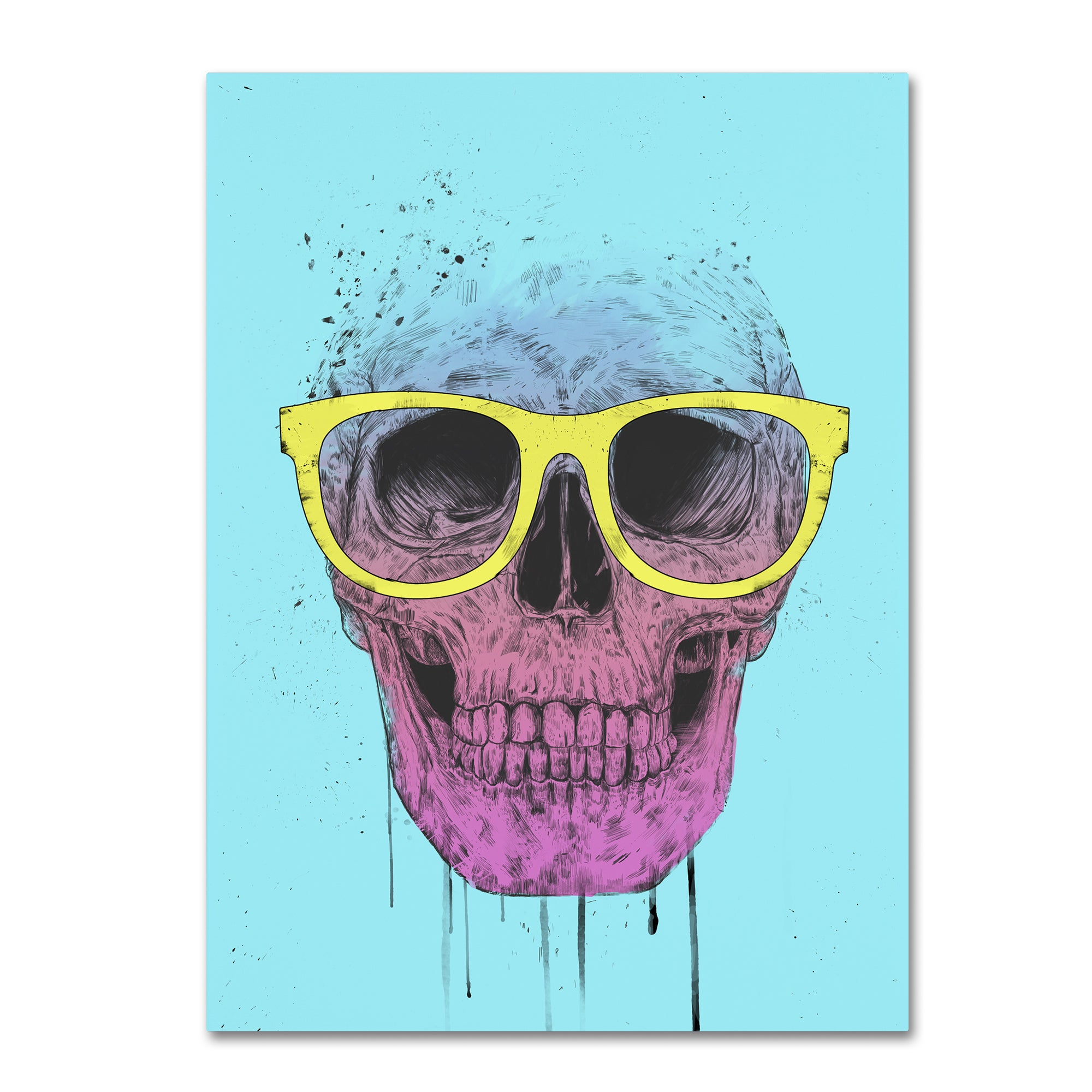 Balazs Solti \'Pop Art Skull With Glasses\' Canvas Art - Free Shipping ...
