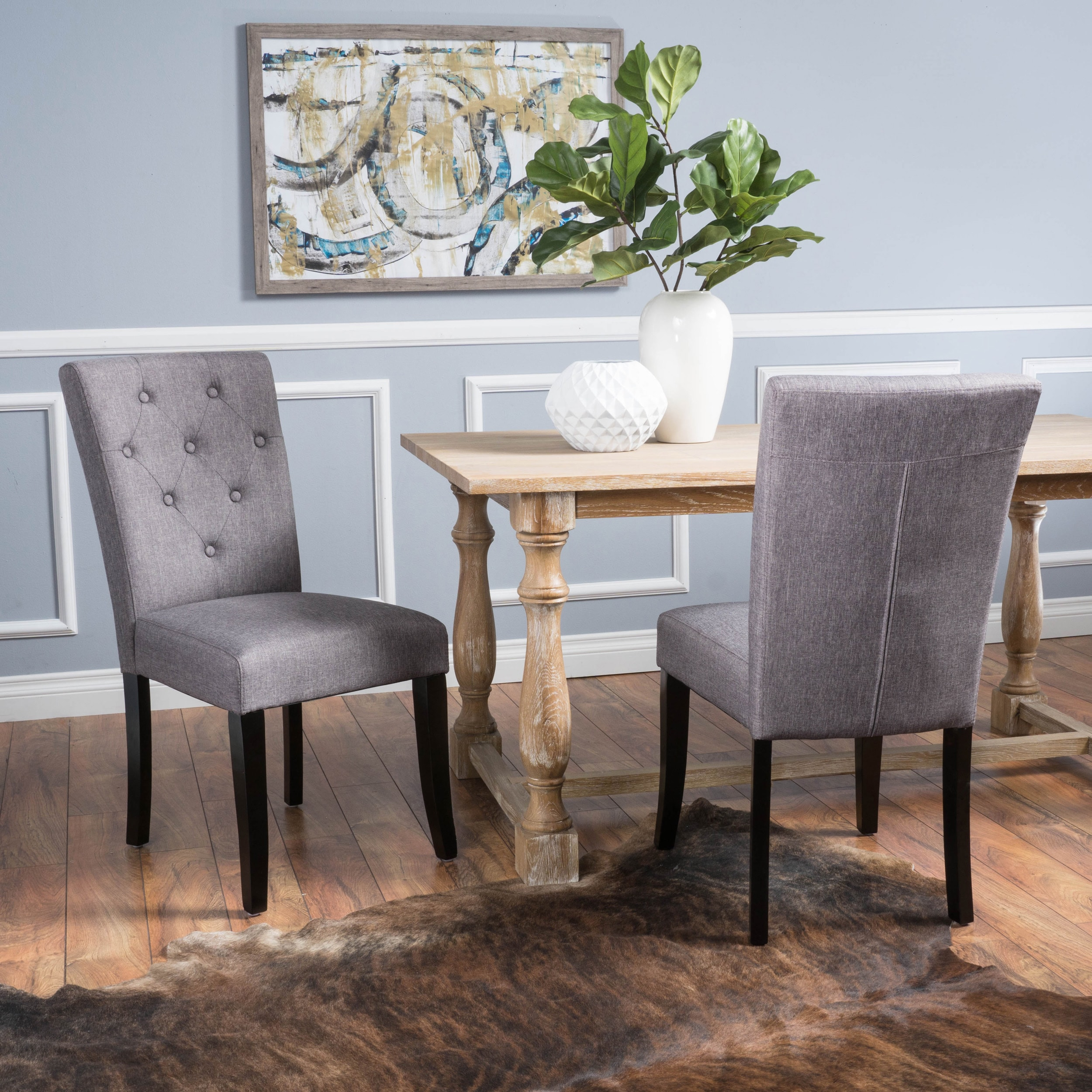 Shop Nyomi Fabric Dining Chair (Set of 2) by Christopher Knight Home - On Sale - Free Shipping Today - Overstock.com - 12183981 : dining table with fabric chairs - Cheerinfomania.Com