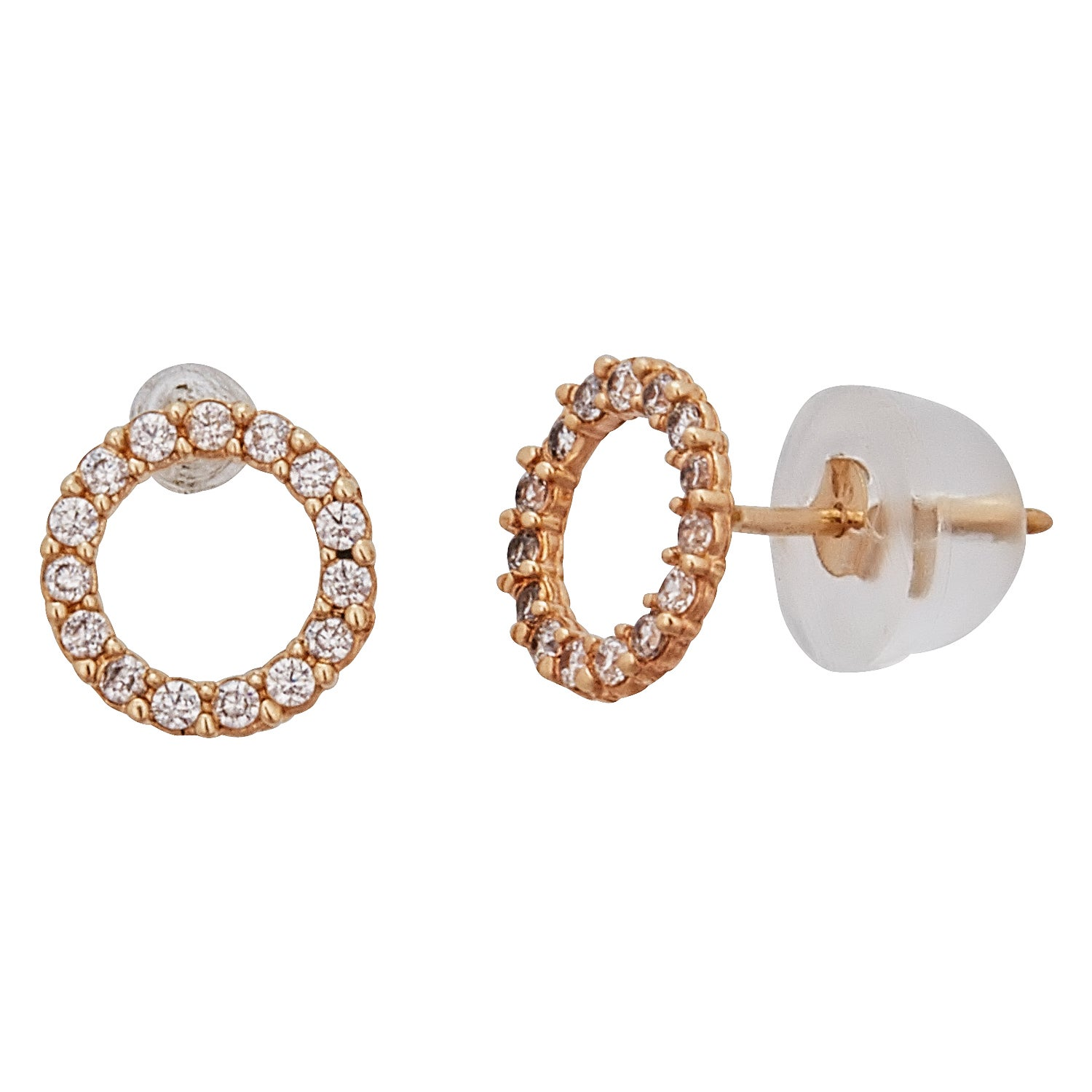 white stud circle set open earrings diamond gold