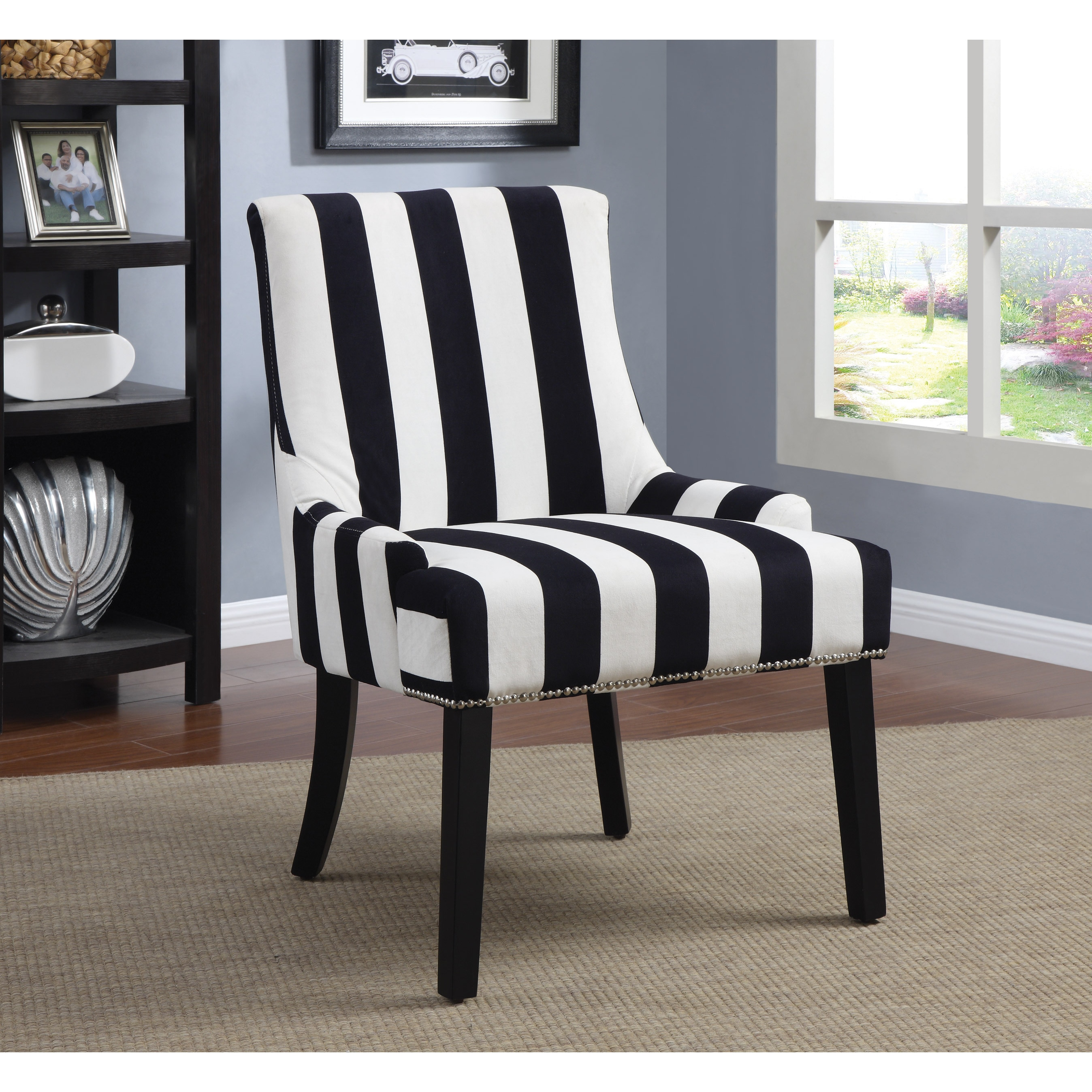 Shop Transitional Midnight Blue And White Accent Chair Free