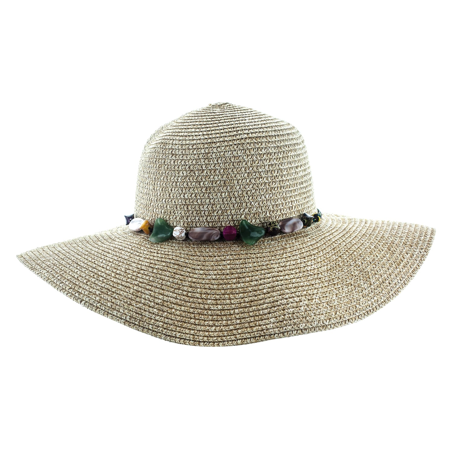 34ccbab03b3 Shop Faddism Womens Woven Sun Hat With Colorful Stones Adorned Hatband -  Free Shipping On Orders Over  45 - Overstock.com - 12186590