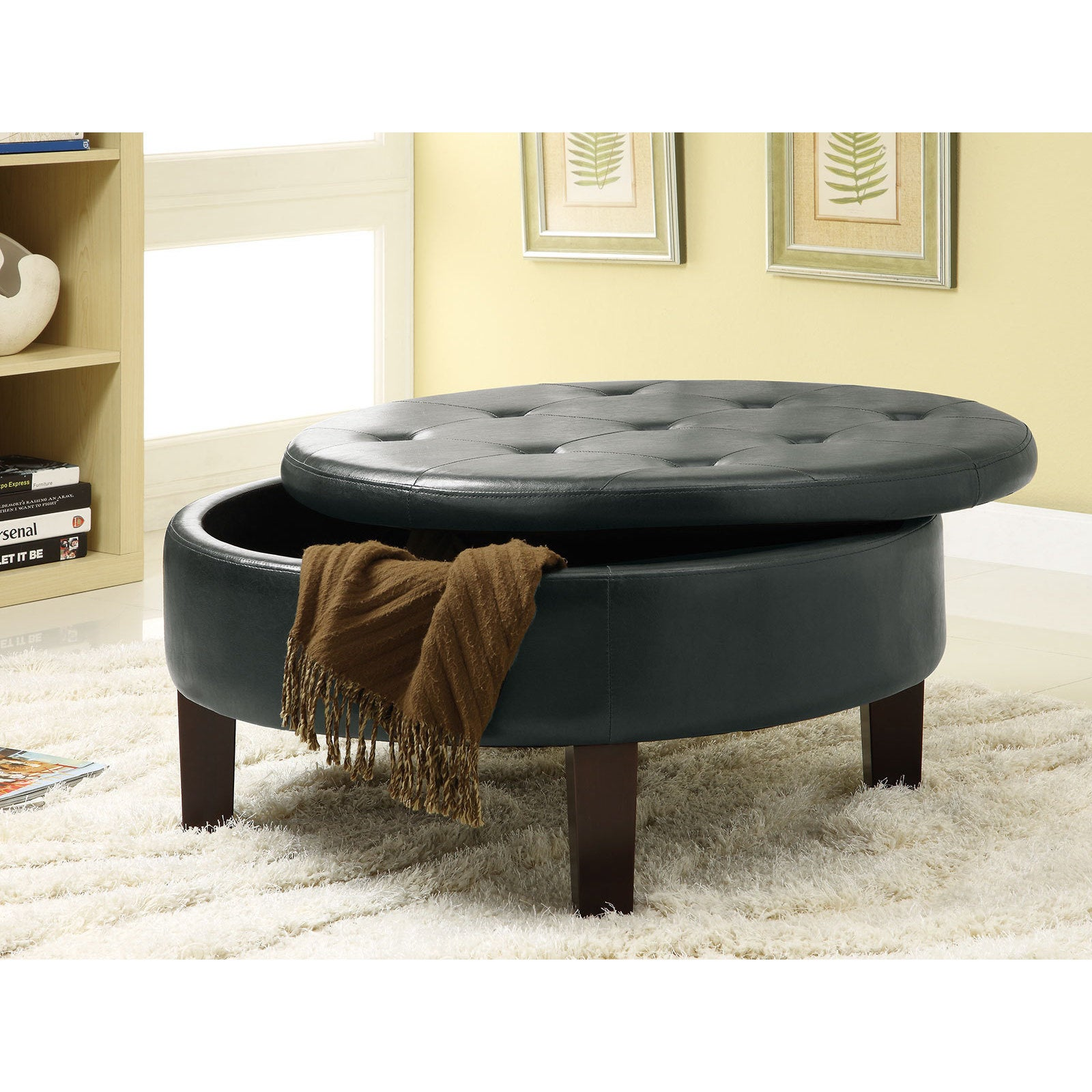 Shop copper grove jamesia tufted brown faux leather round storage ottoman free shipping today overstock com 22580928