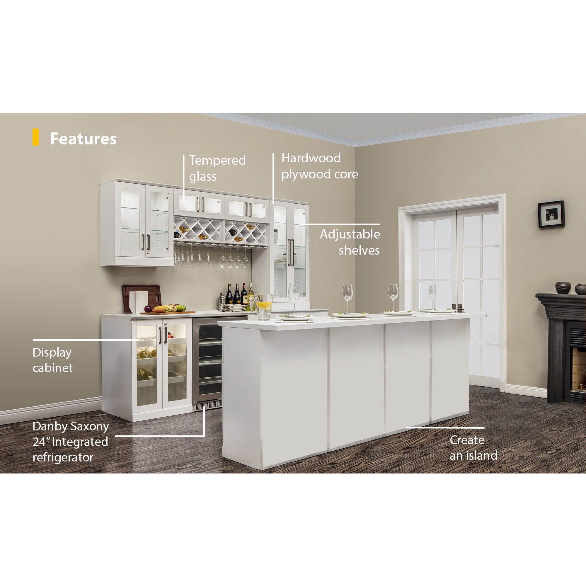 Shop Newage Products Home Bar 13 Pc Island White Shaker Style