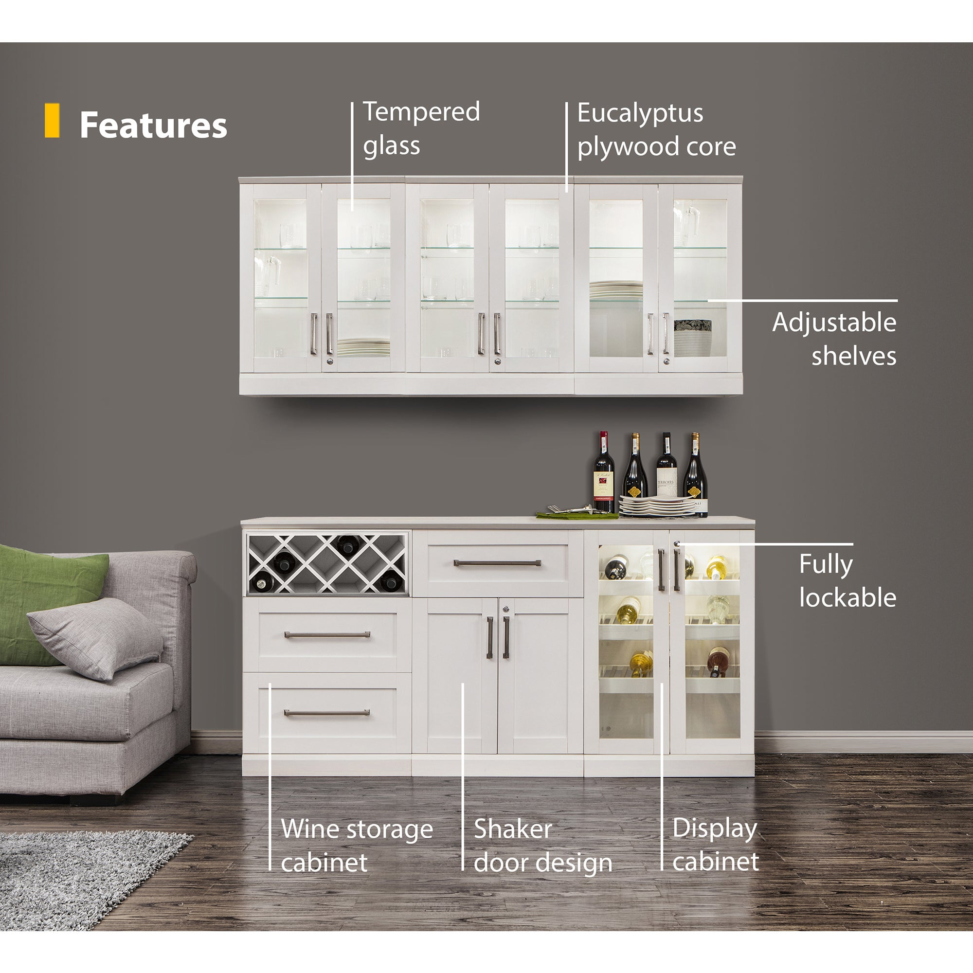 Incroyable Shop NewAge Products White Shaker Style 7 Piece Home Bar Storage Cabinet    Free Shipping Today   Overstock.com   12187605