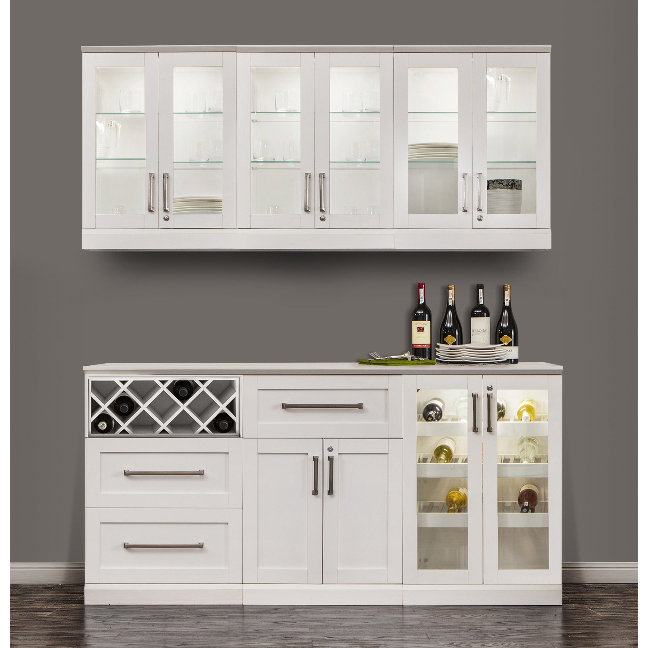 Picture of: Newage Products White Shaker Style 7 Piece Home Bar Storage Cabinet Overstock 12187605