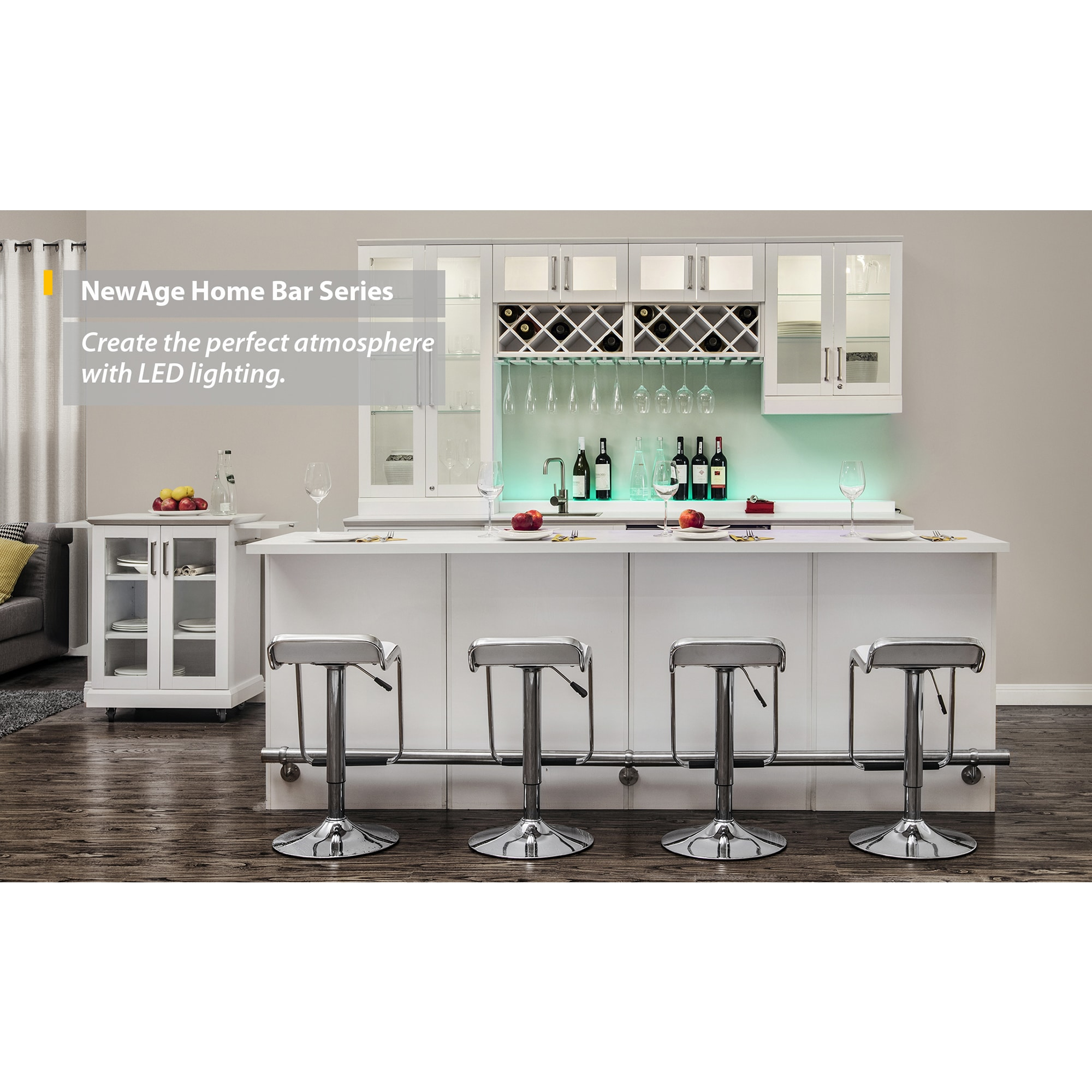 NewAge Products 96 in. W x 25 in. D White Shaker Style 8-piece Home ...