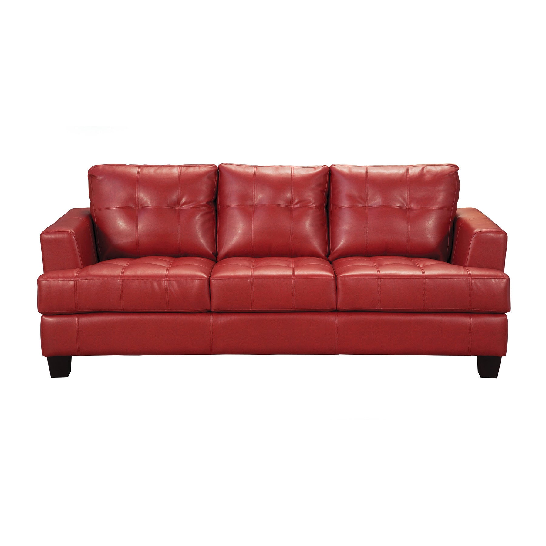 Shop coaster company red bonded leather sofa free shipping today overstock com 12189748