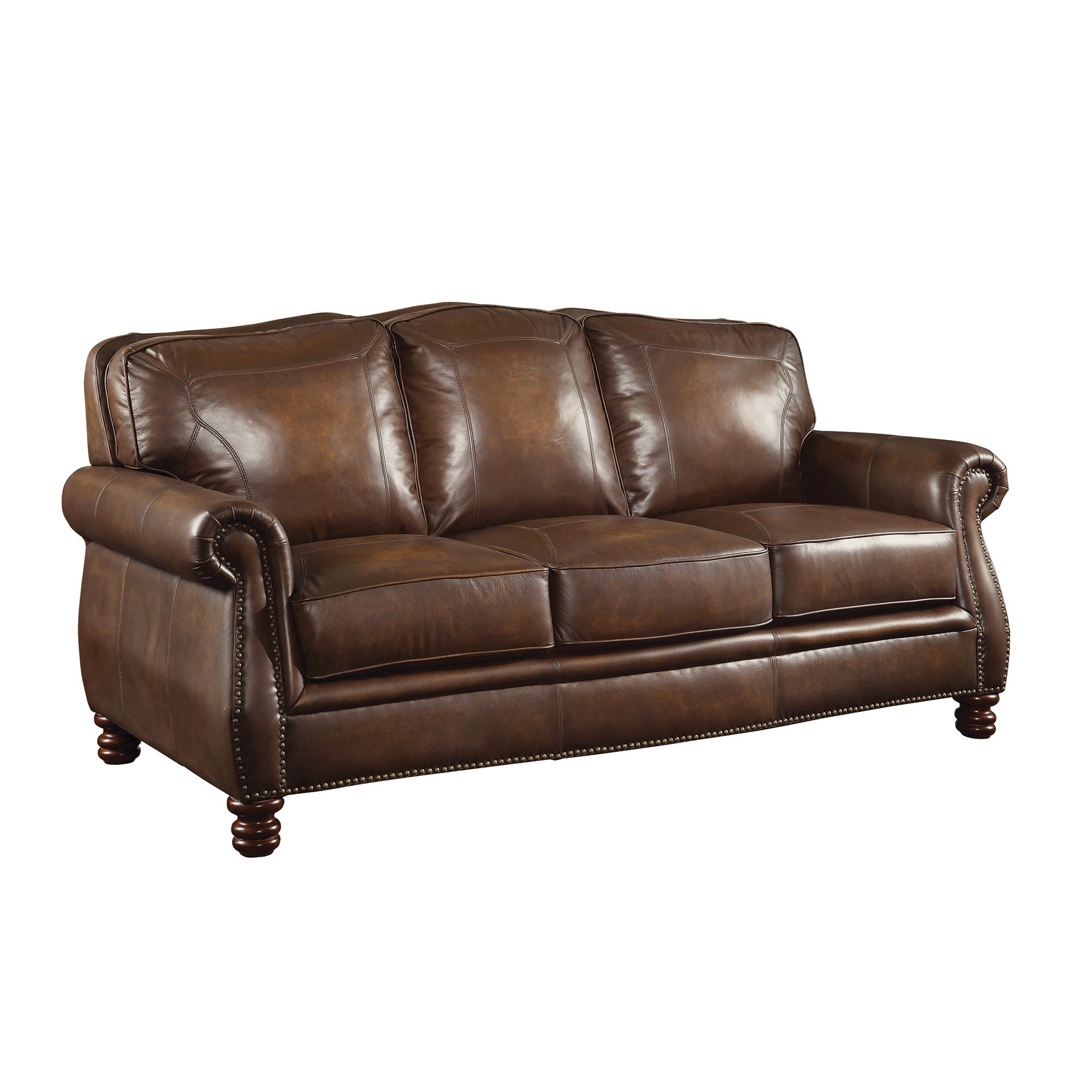 Shop Coaster Company Nailhead Trim Brown Leather Sofa   Free Shipping Today    Overstock.com   12189797