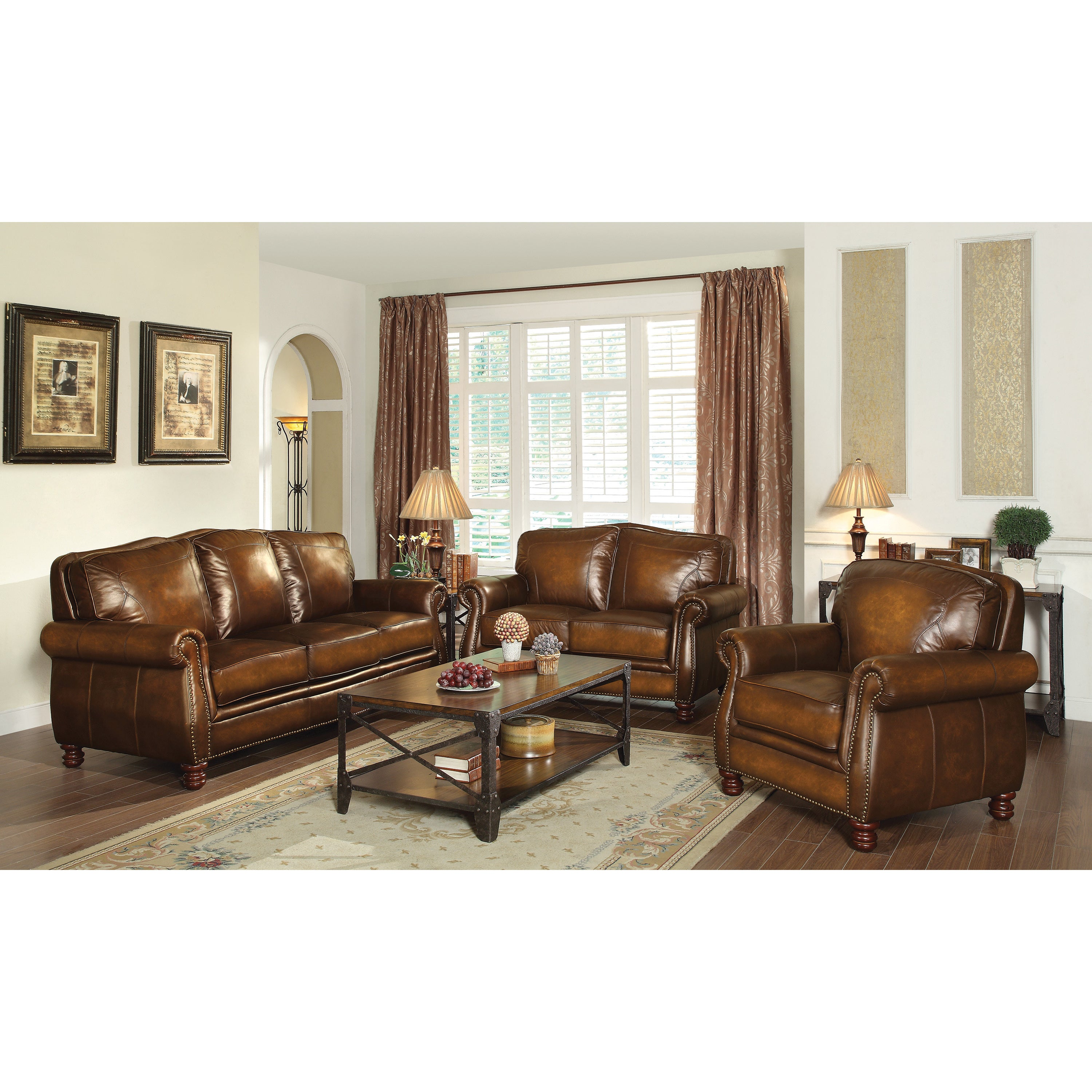 Coaster Company Nailhead Trim Brown Leather Sofa Free Shipping Today 12189797