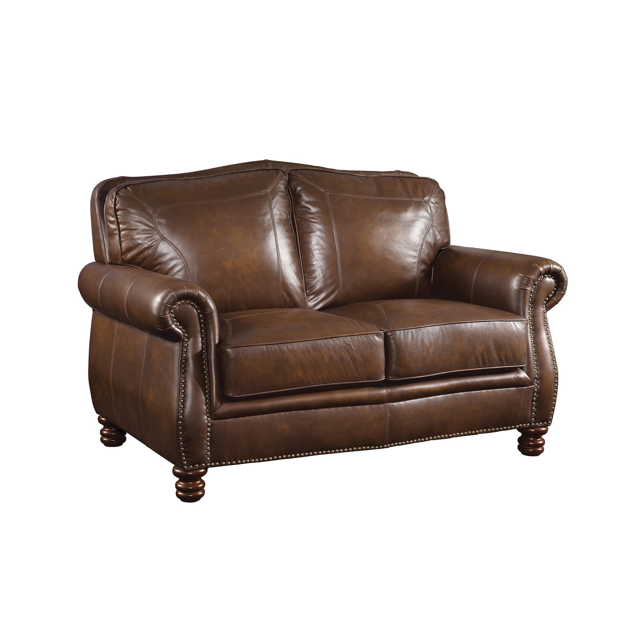 Coaster Company Nailhead Trim Brown Leather Sofa