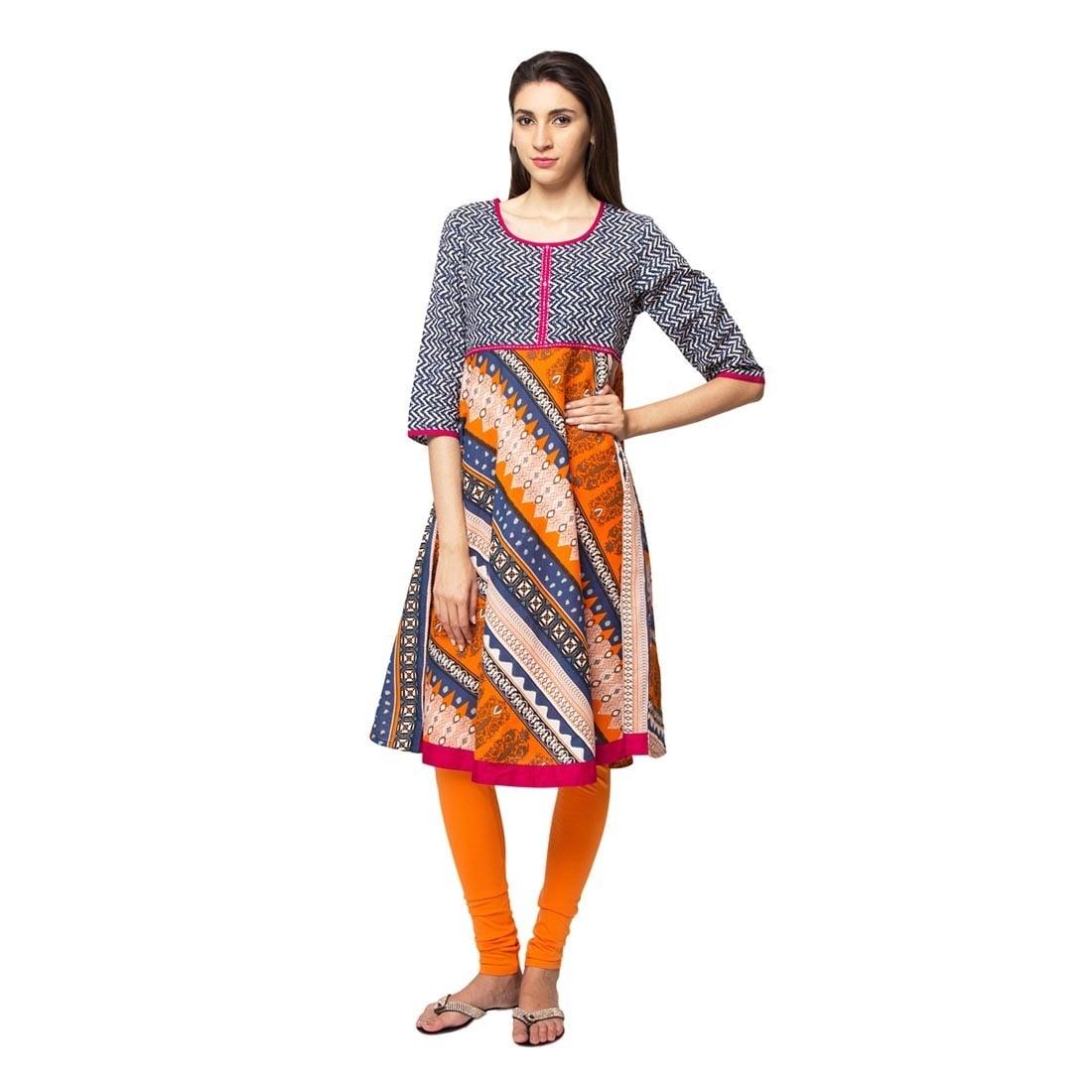 da33cbe9252 Handmade In-Sattva Ethnicity Women's Indian Trendy Multi-Print Kurta Tunic  (India)
