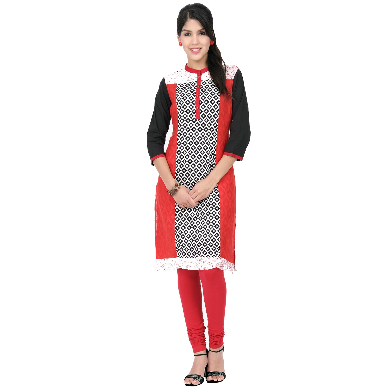 4484f91353a Shop Handmade In-Sattva Ethnicity Women's Indian Color Block Diamond Print  Kurta Tunic (India) - On Sale - Free Shipping On Orders Over $45 - Overstock  - ...