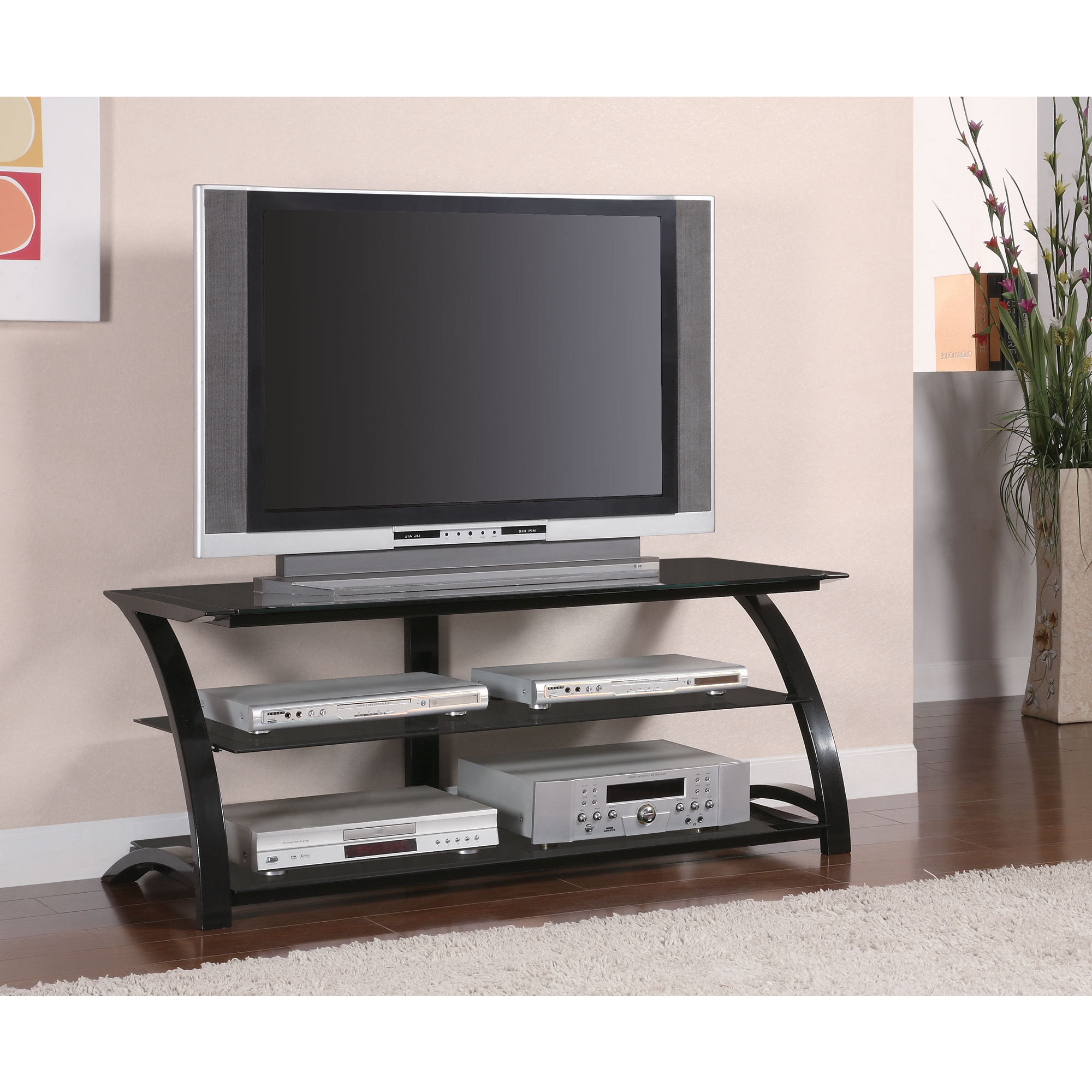 Shop Coaster Company Black Metal Tempered Glass Tv Stand Free