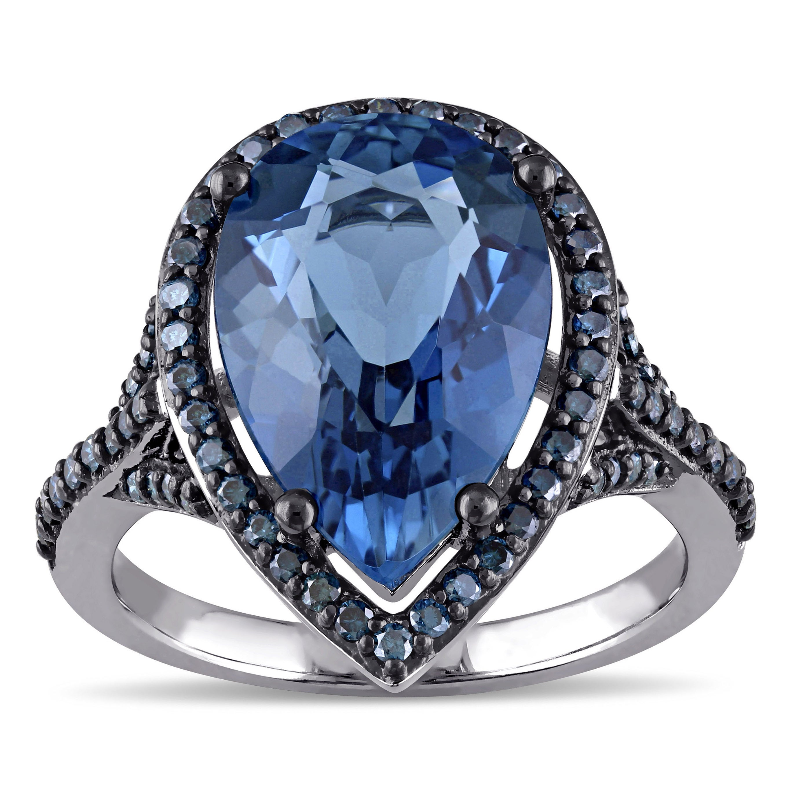 Shop Miadora 14k Blue Rhodium Plated White Gold Pear-cut London Blue ...