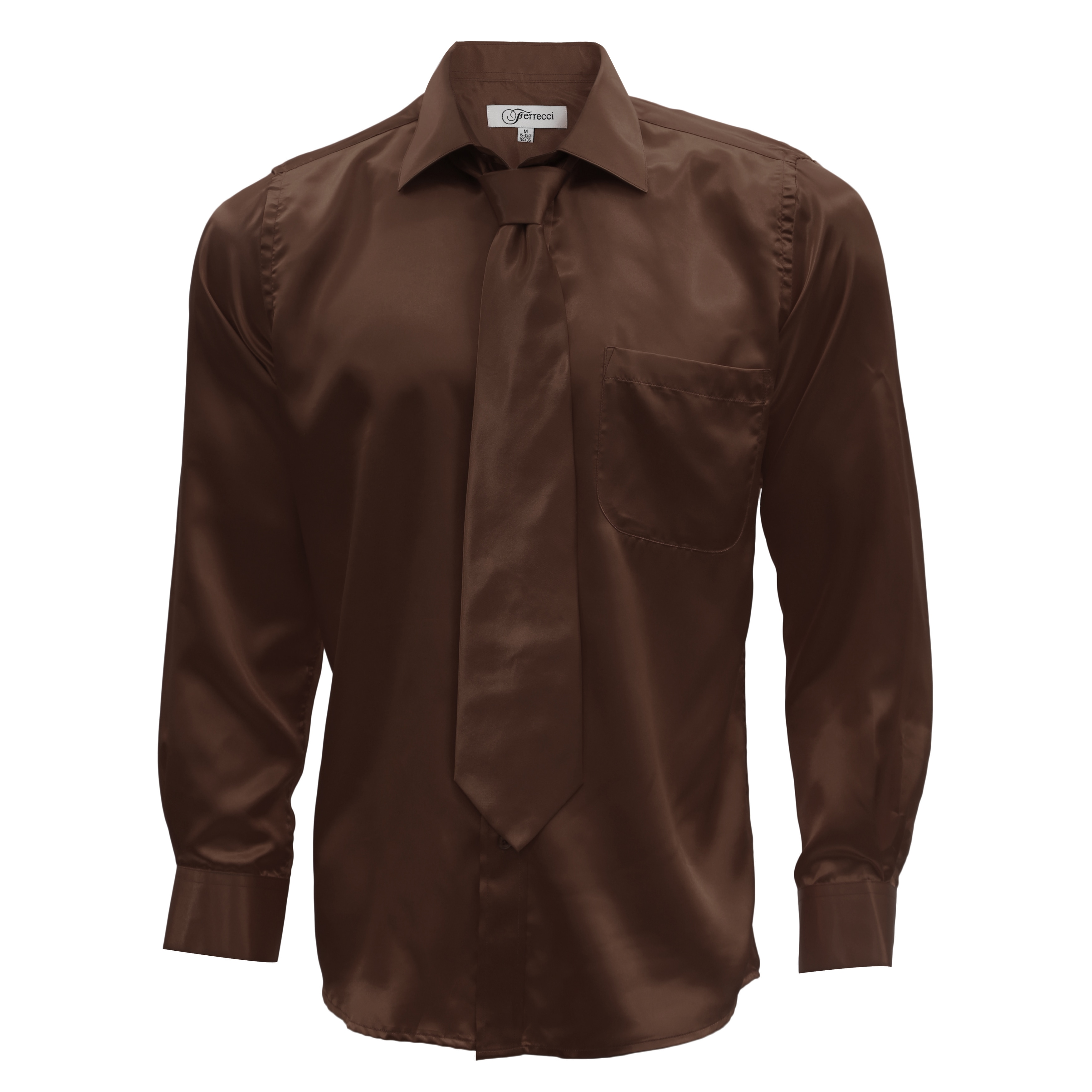 493a4483 Shop Ferrecci Men's Satin Dress Shirt, Necktie and Hanky Set - Free  Shipping On Orders Over $45 - Overstock - 12194708