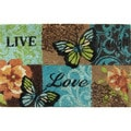 Home Dynamix Fiesta Collection 'Live Laugh Butterfly' Coir Mat (2' x 3')