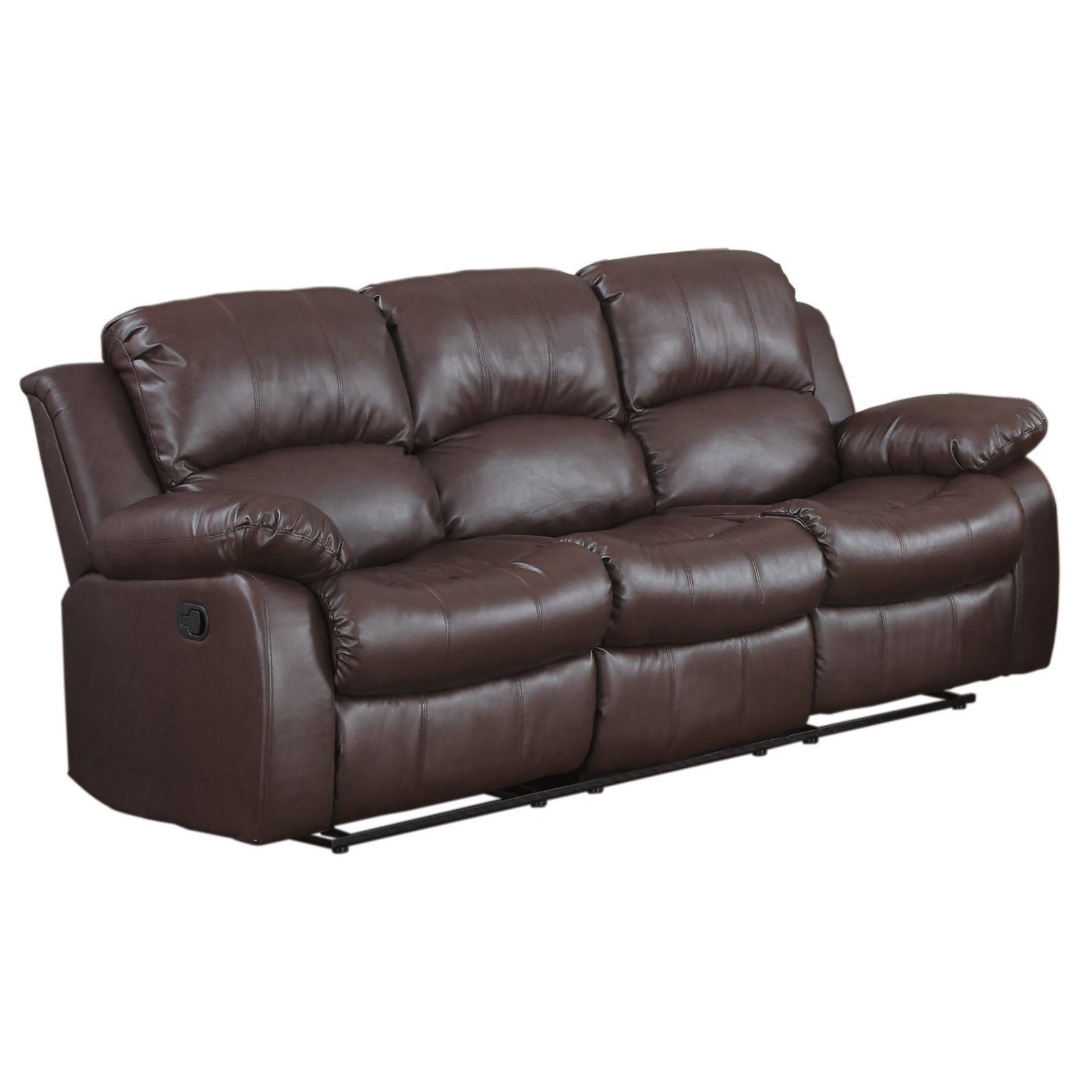 Shop Classic Oversize and Overstuffed 3 Seat Bonded Leather Double ...