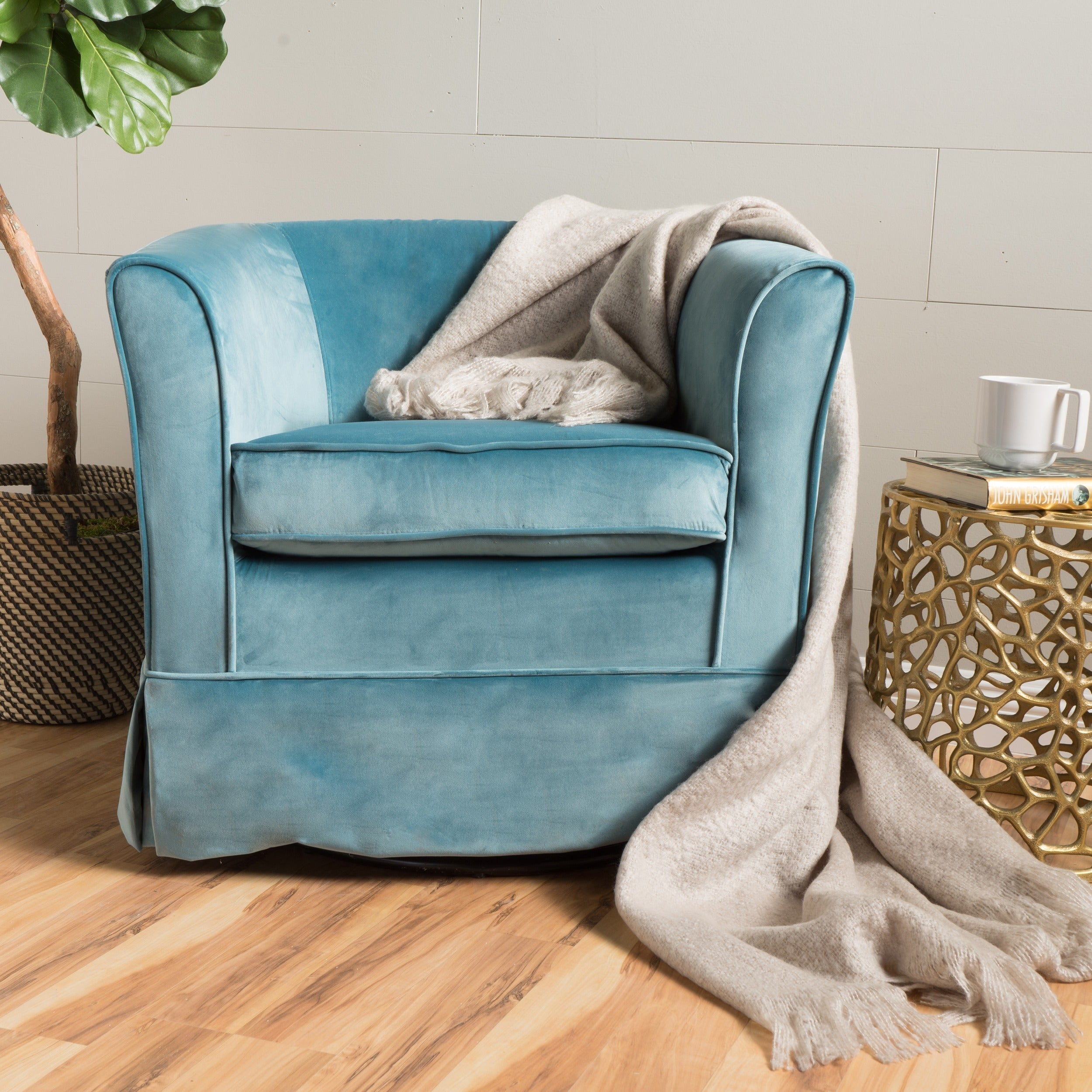 Cecilia Velvet Swivel Club Chair by Christopher Knight Home - Free ...