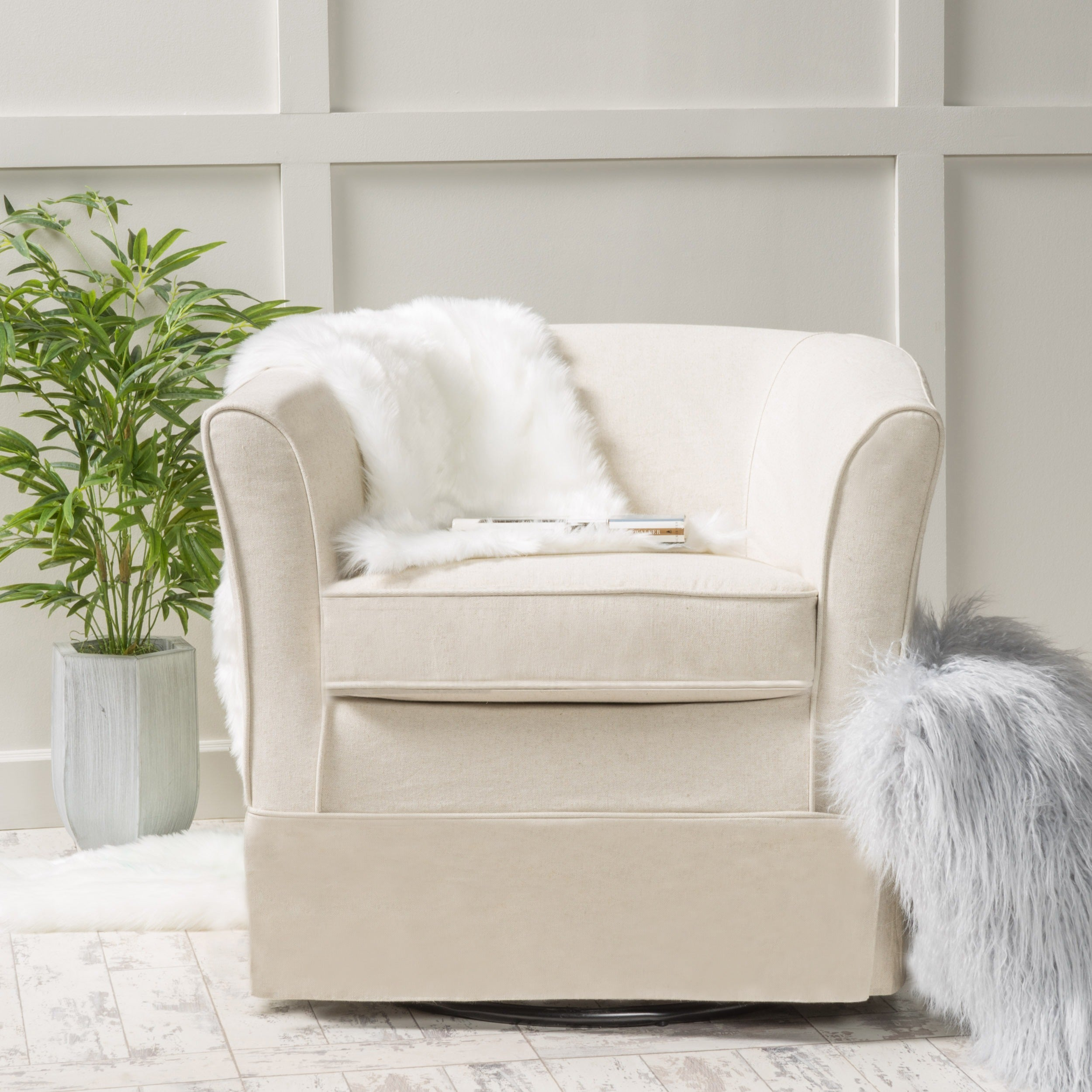 Shop Cecilia Fabric Swivel Club Chair by Christopher Knight Home ...