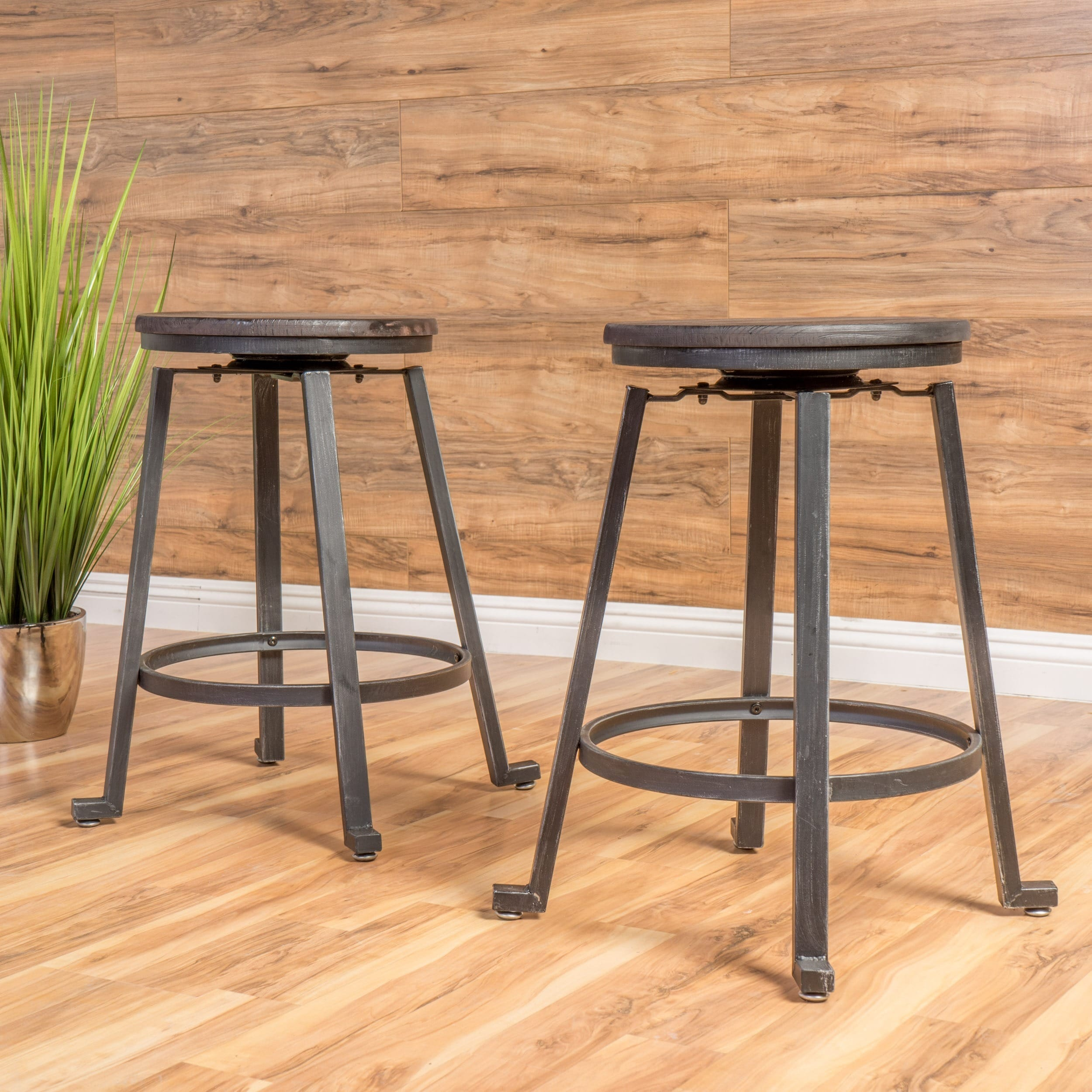 Shop lolita 24 inch rustic iron counter stool set of 2 by christopher knight home free shipping today overstock com 12200532