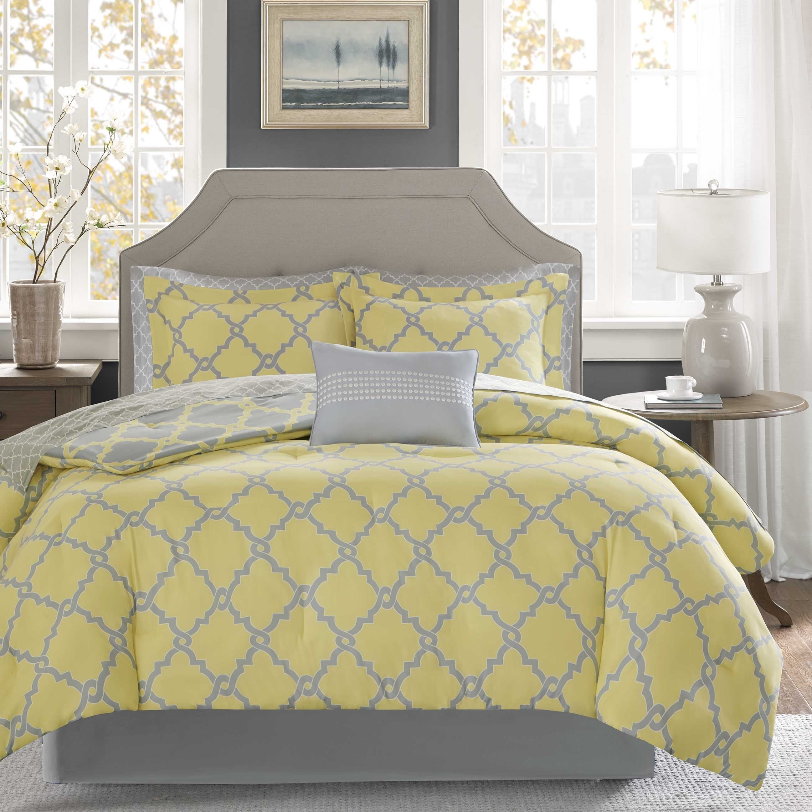 Madison Park Essentials Concord Grey/ Yellow Reversible Complete Comforter  and Cotton Sheet Set - Free Shipping Today - Overstock.com - 19050041