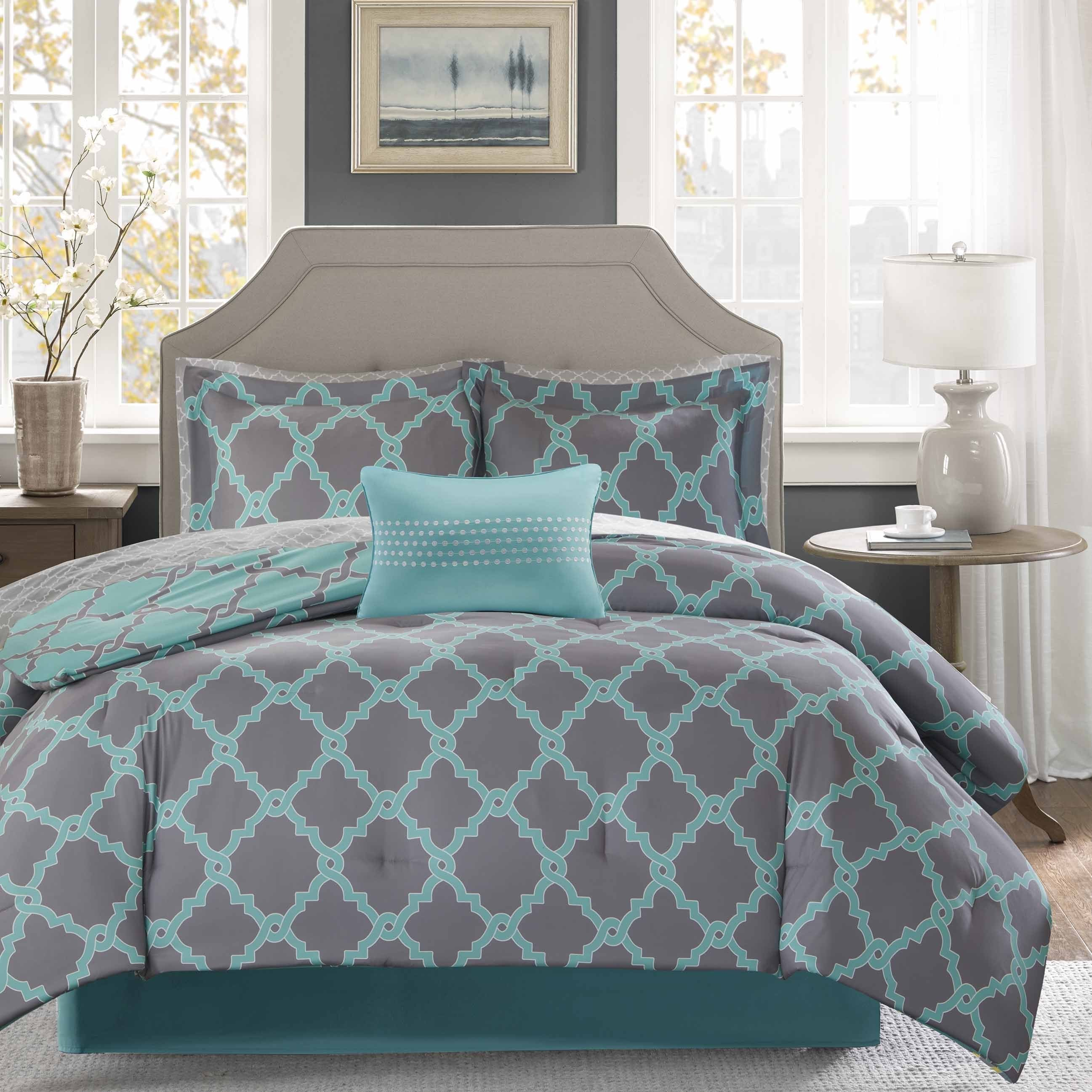 Clay Alder Home Denver Aqua Grey Reversible plete forter and