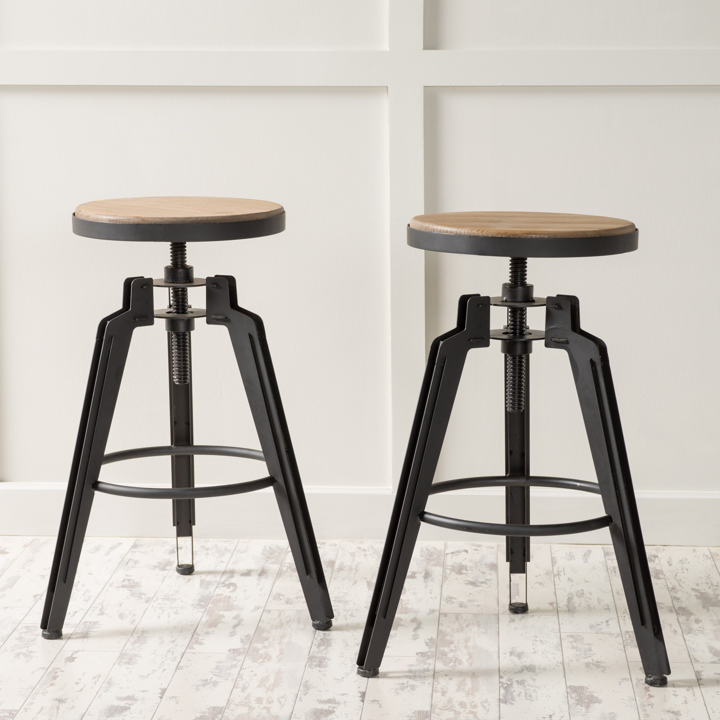 Isla 25 Inch Adjule Rustic Wood Barstool Set Of 2 By Christopher Knight Home On Free Shipping Today 12204915