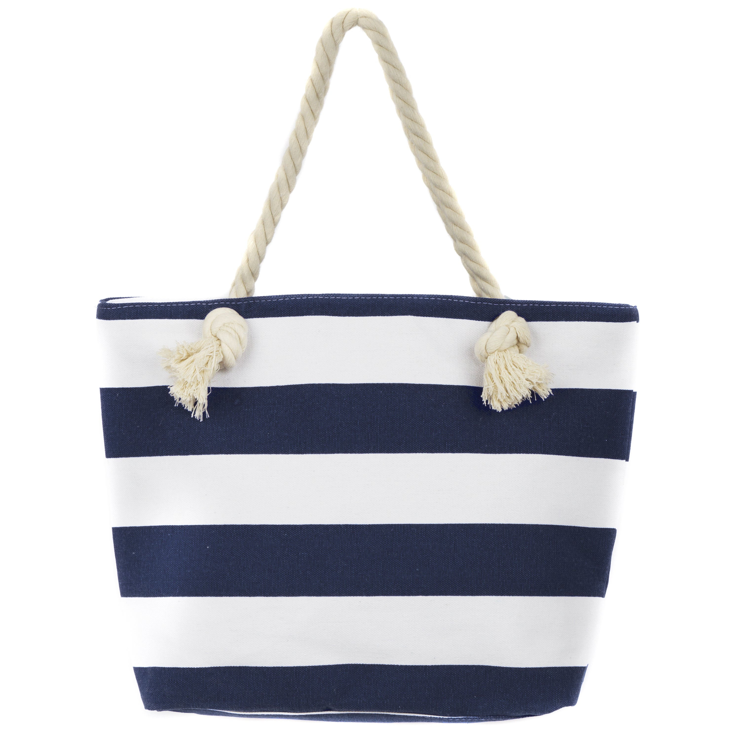 53947171756 Shop Leisureland Rope Handle Stripe Canvas Beach Tote Bag - Free Shipping  On Orders Over  45 - Overstock - 12205931