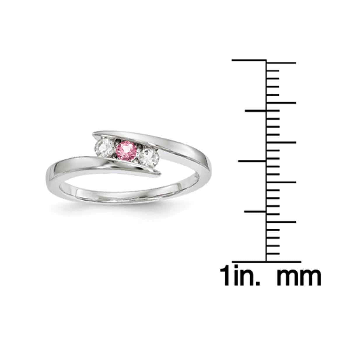 6ffad0b6b Shop Sterling Silver Clear and Pink Swarovski Topaz Circle of Strength Ring,  Part of the Survivor Collection by Versil - On Sale - Free Shipping Today  ...