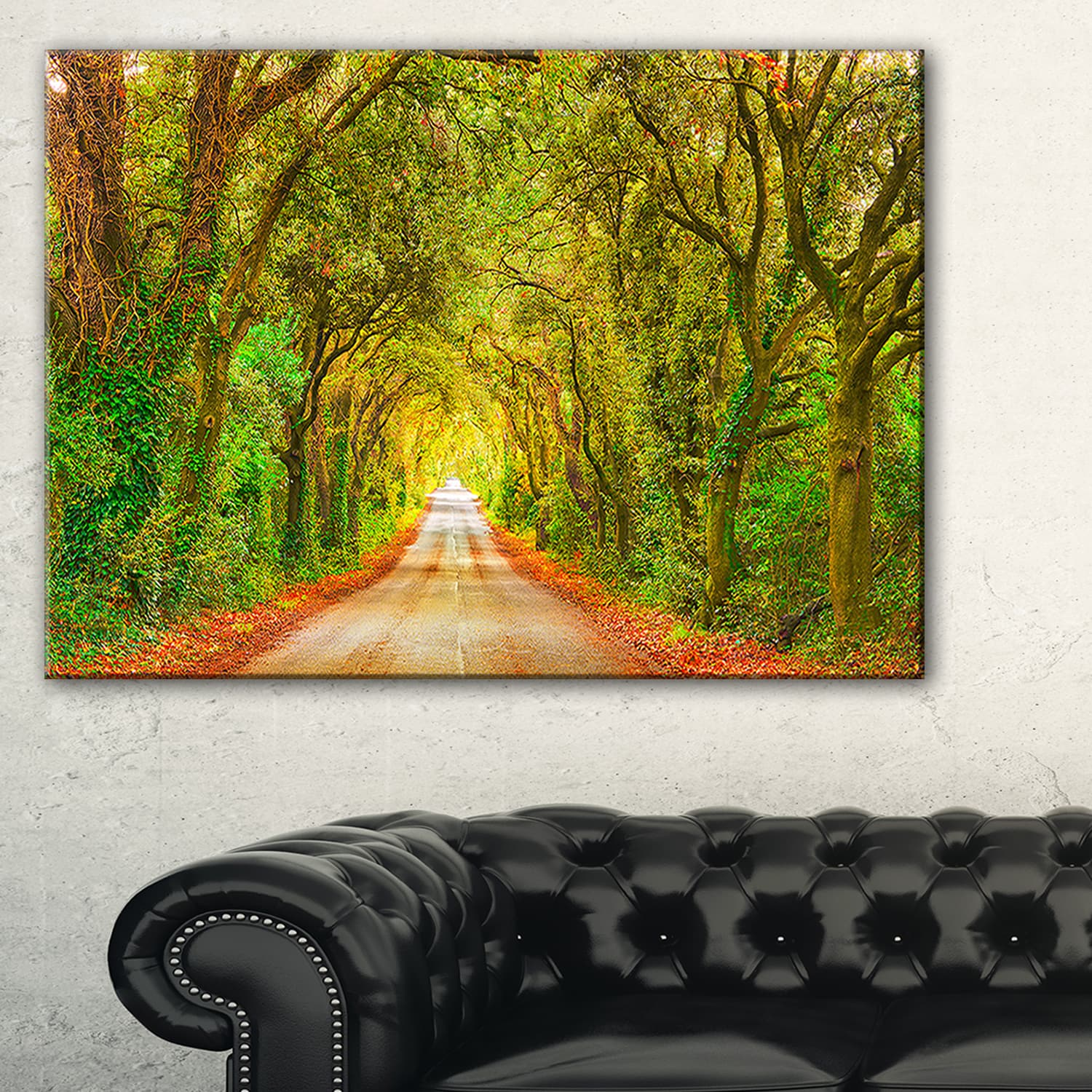 Shop Fall Greenery and Road Straight Ahead - Oversized Forest Canvas ...