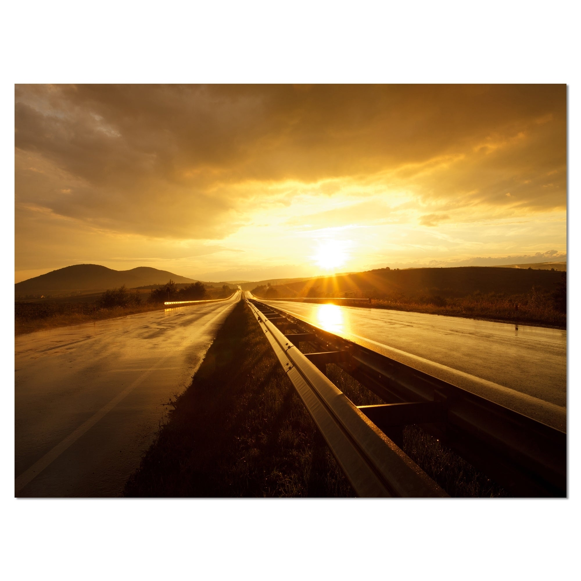 Wet After Rain Road at Sunset - Extra Large Wall Art Landscape ...