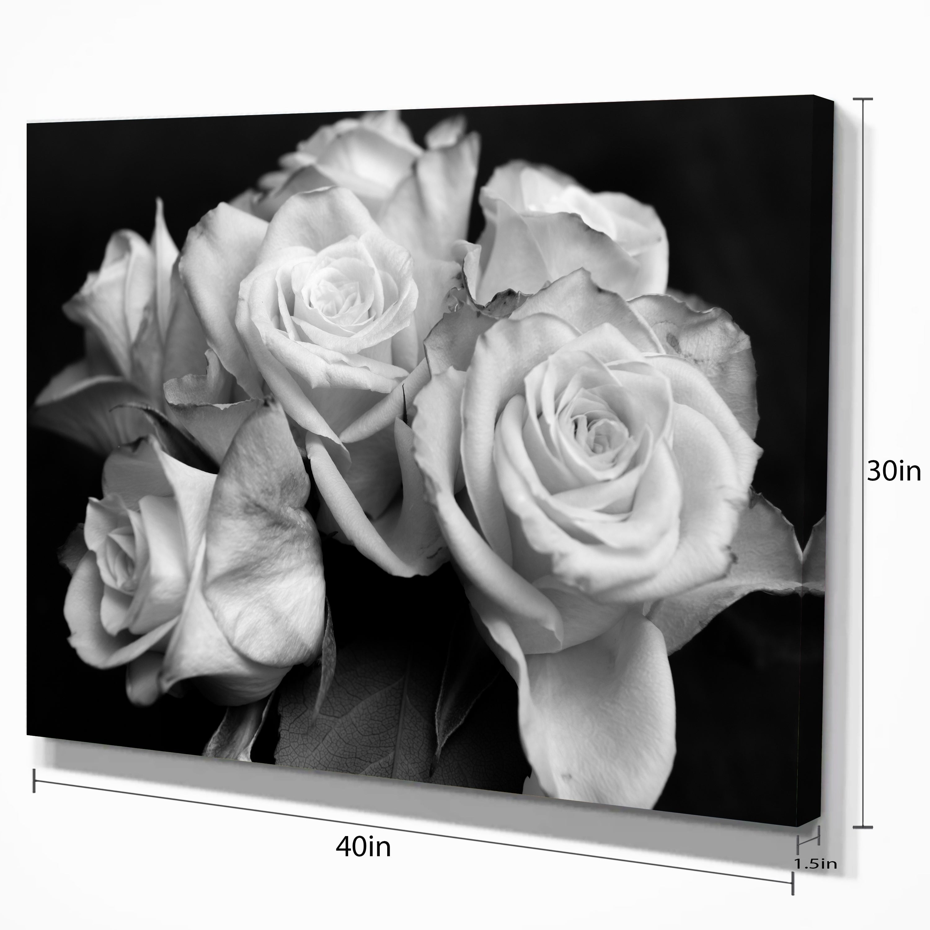 Shop bunch of roses black and white floral canvas art print on shop bunch of roses black and white floral canvas art print on sale free shipping on orders over 45 overstock 12210524 mightylinksfo