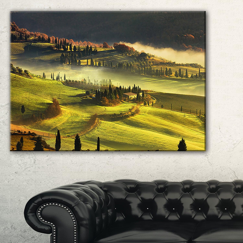Tuscany Farmland and Cypress Trees - Oversized Landscape Wall Art ...