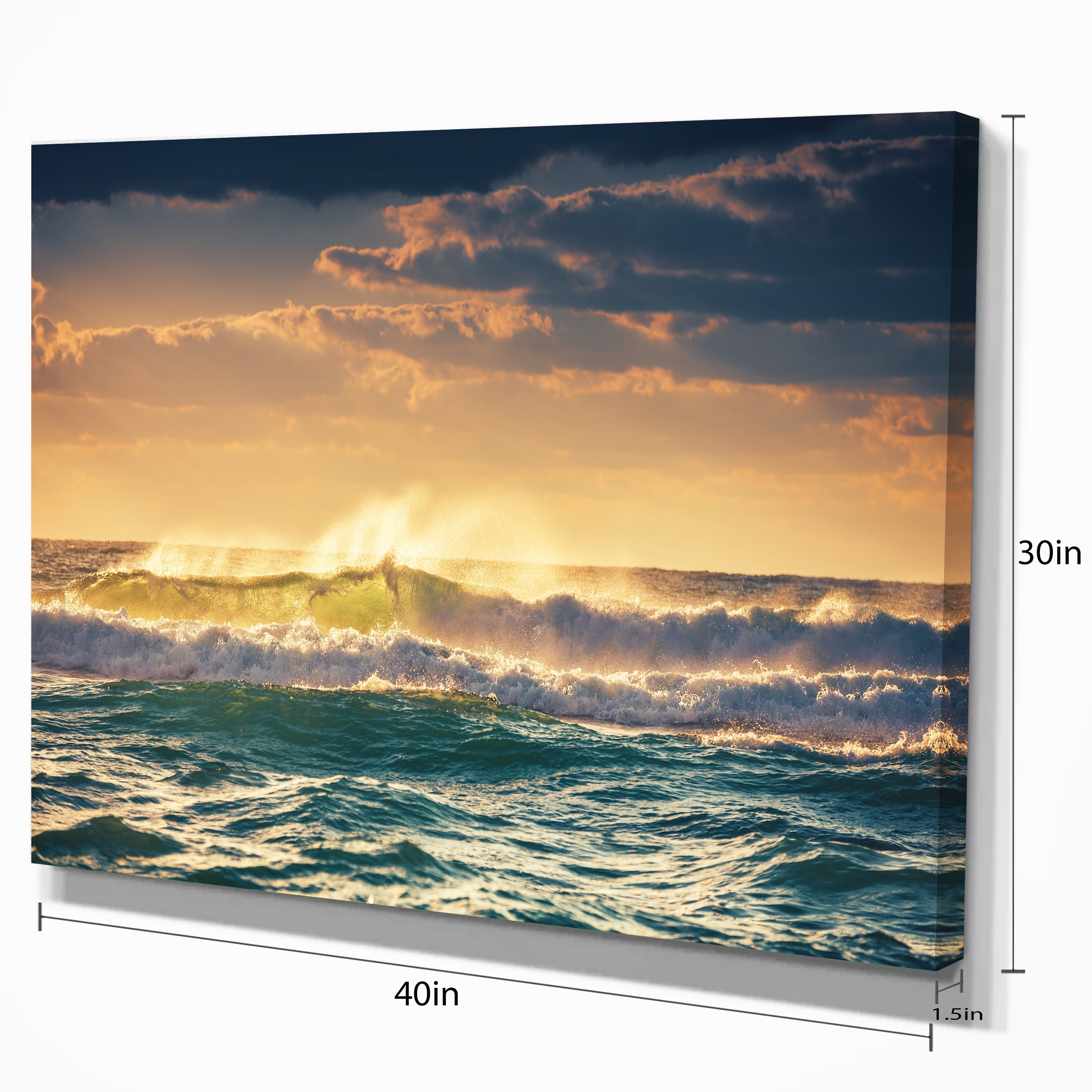 Sunrise and Shining Waves in Ocean - Seashore Canvas Wall Art - Free ...