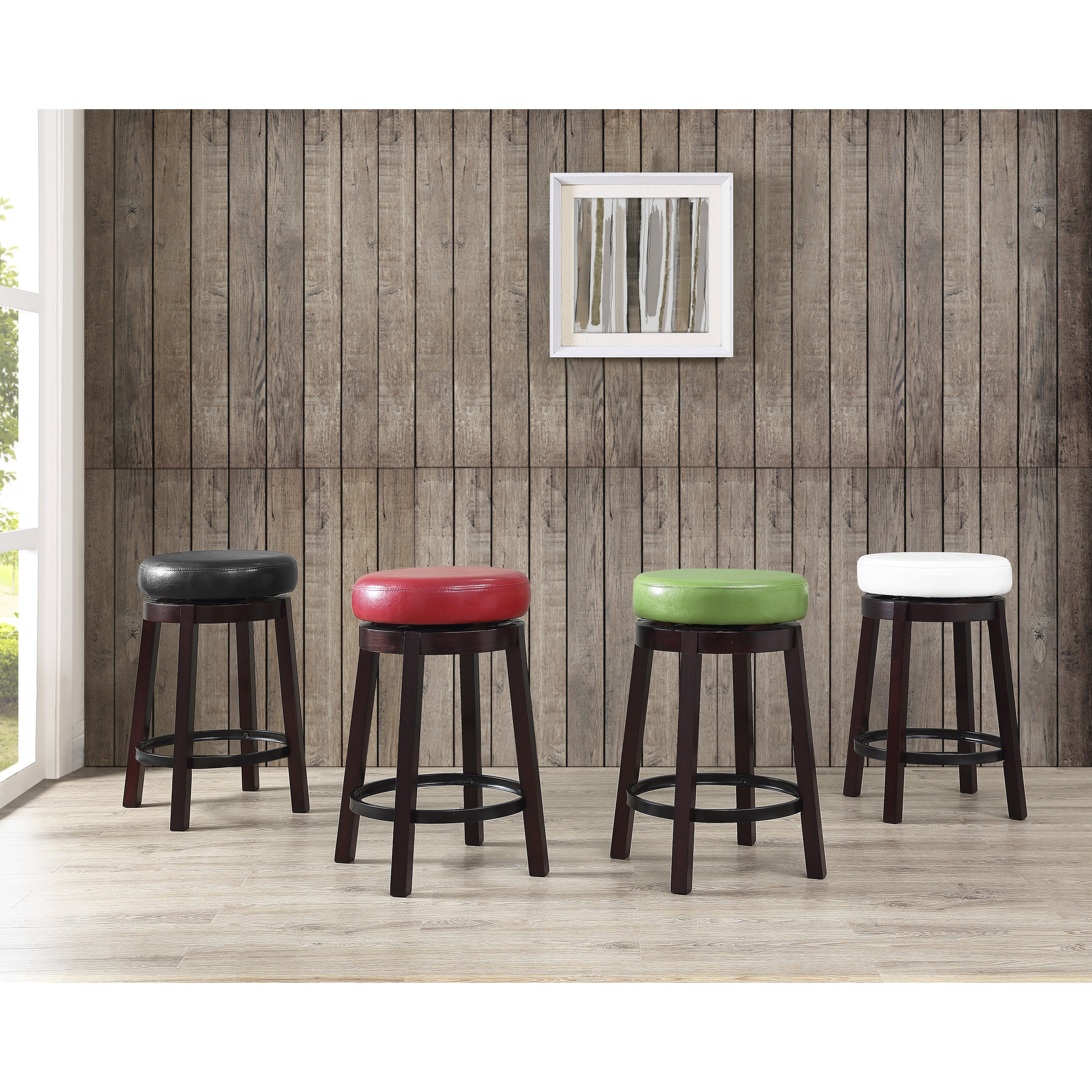 Swivel Counter Height Bar Stool With Leather Seat And Metal Foot Rest Set Of 2 On Free Shipping Today 20255105