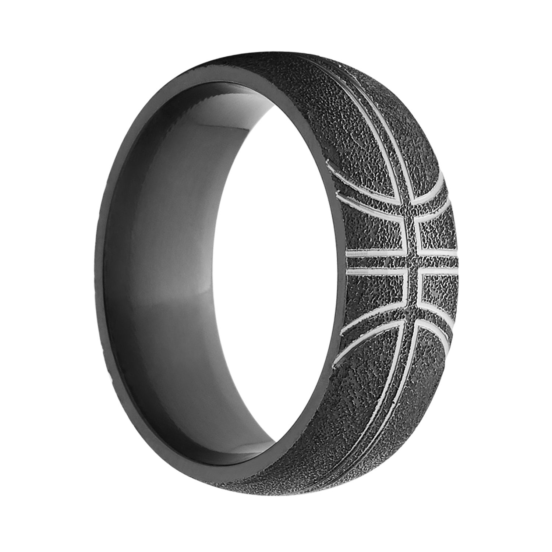Black Zirconium Comfortfit Basketball Wedding Band Ring Free