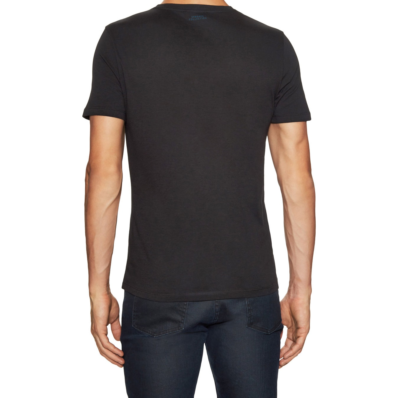 Versace Collection Mens Black Blue Printed T Shirt Versacee On Shop Sale Free Shipping Today 12211973