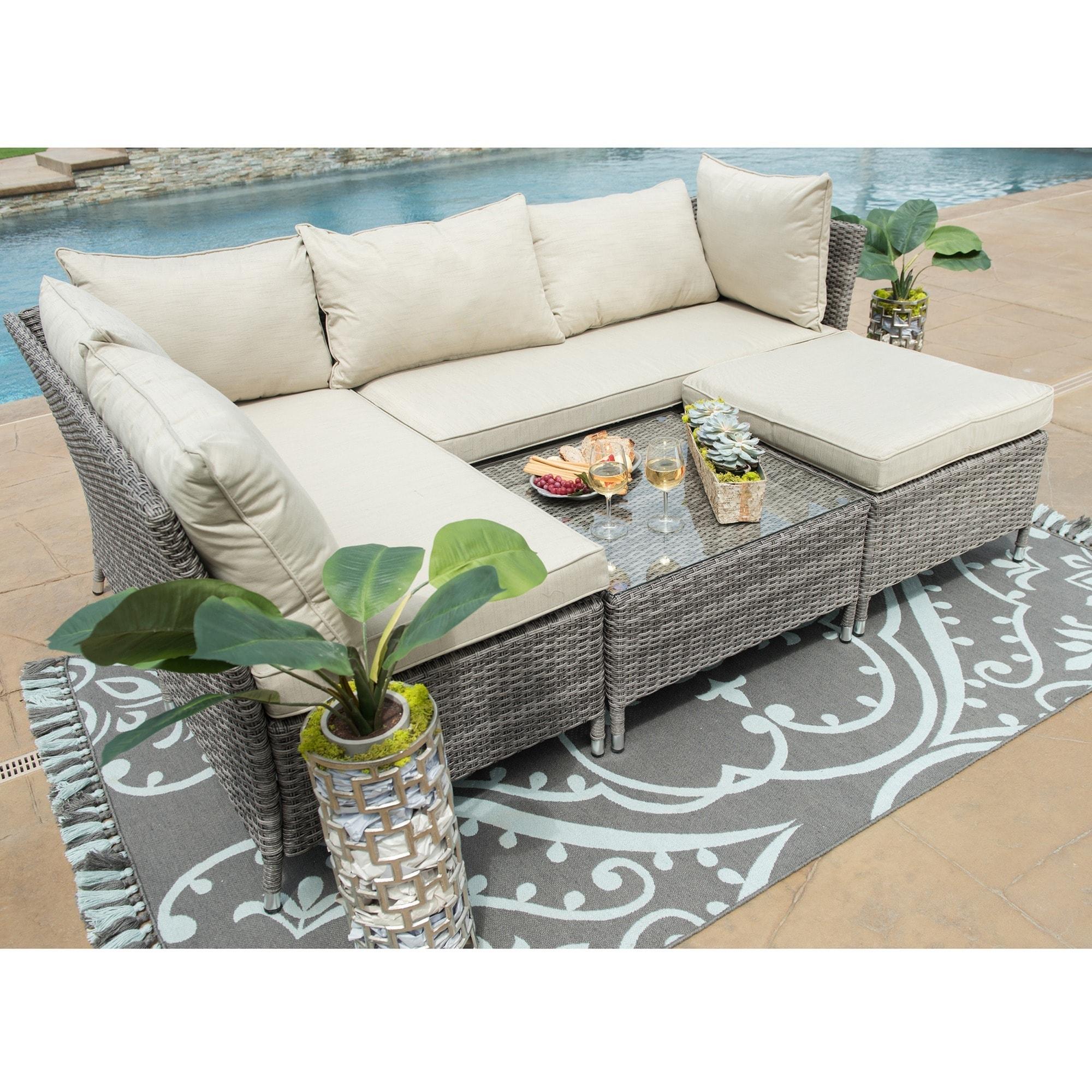 Shop Corvus Bellanger 4 Piece Grey Wicker Patio Furniture Set Free