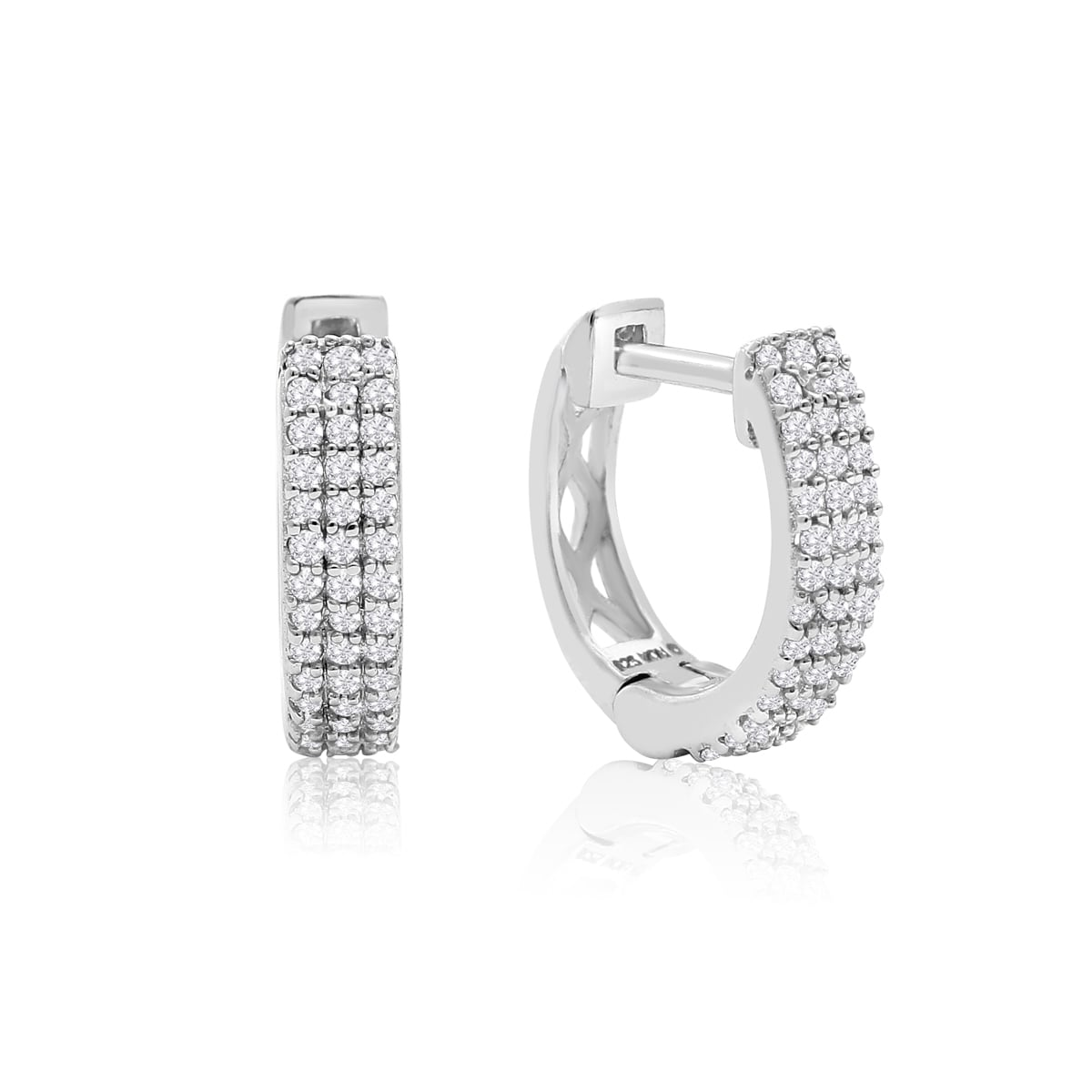 Sterling Silver 1 4ct Tdw Diamond Hoop Earrings 2 Inch Free Shipping Today 12215485