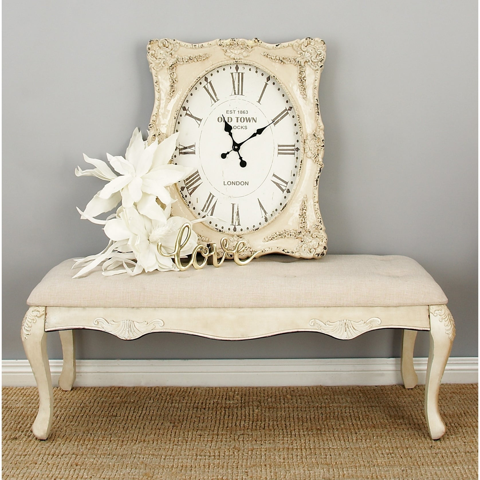 Shop Traditional Distressed Antique Ivory Wood Fabric Bench by